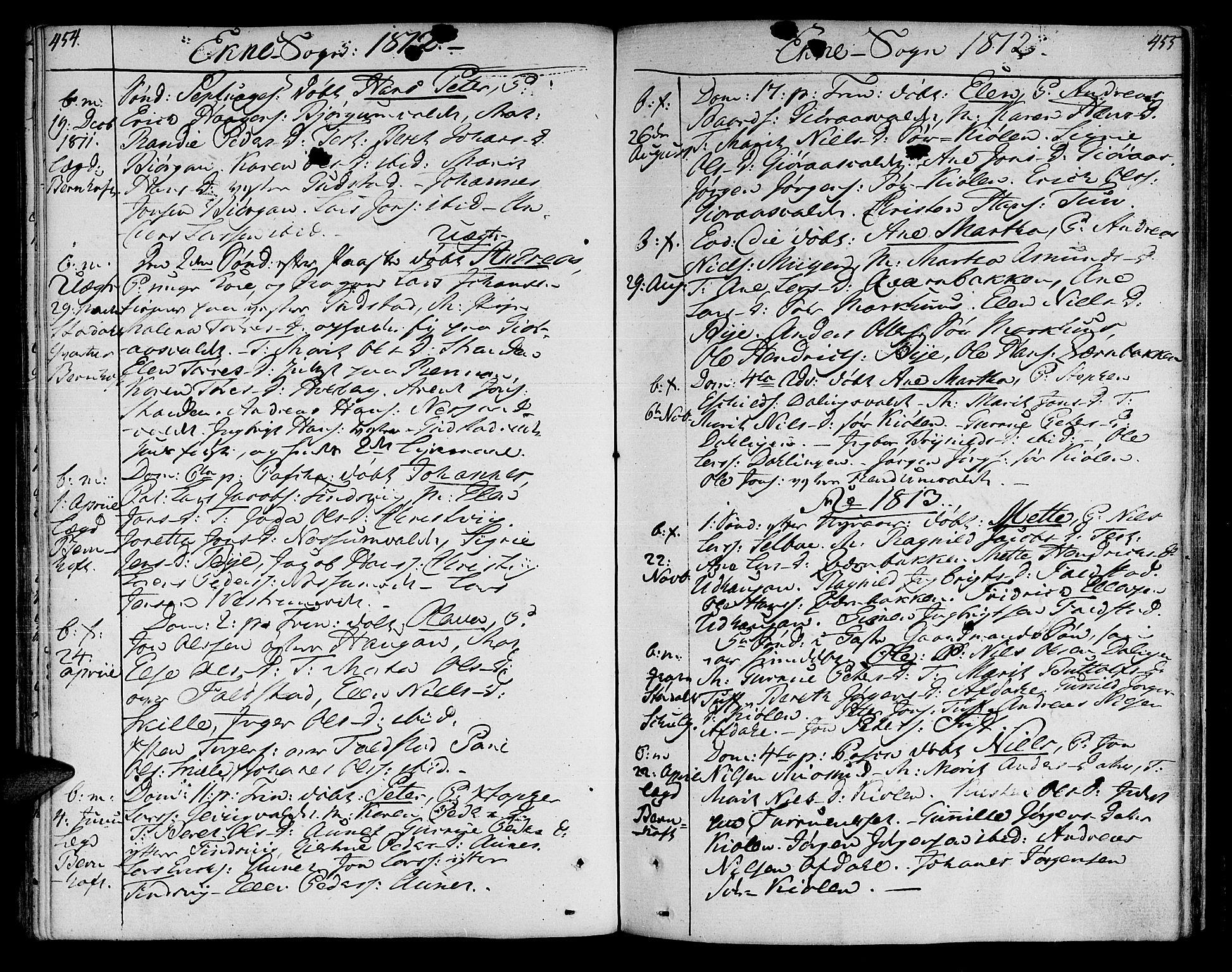 SAT, Ministerialprotokoller, klokkerbøker og fødselsregistre - Nord-Trøndelag, 717/L0145: Ministerialbok nr. 717A03 /2, 1810-1815, s. 454-455