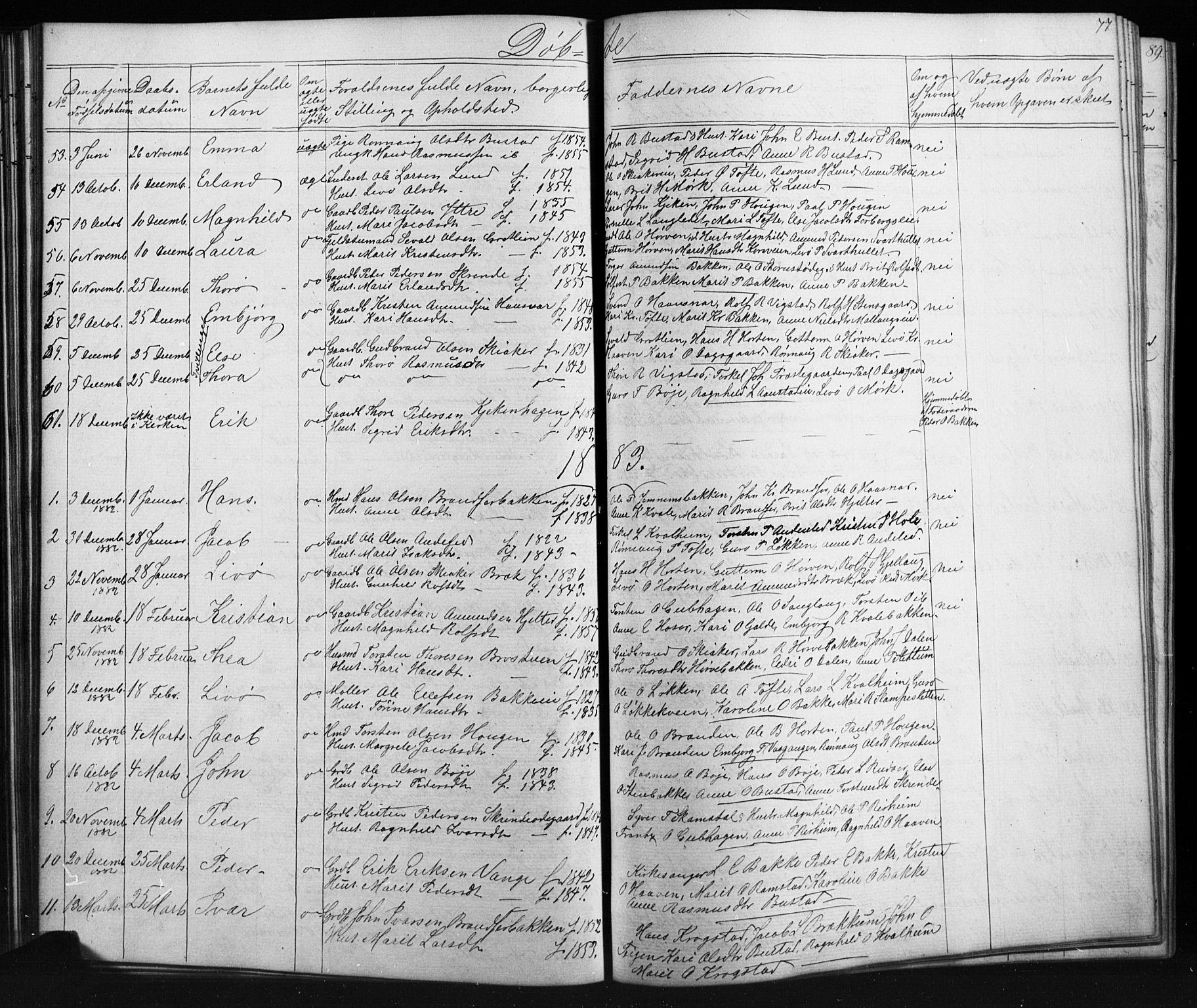SAH, Skjåk prestekontor, Klokkerbok nr. 1, 1865-1893, s. 77
