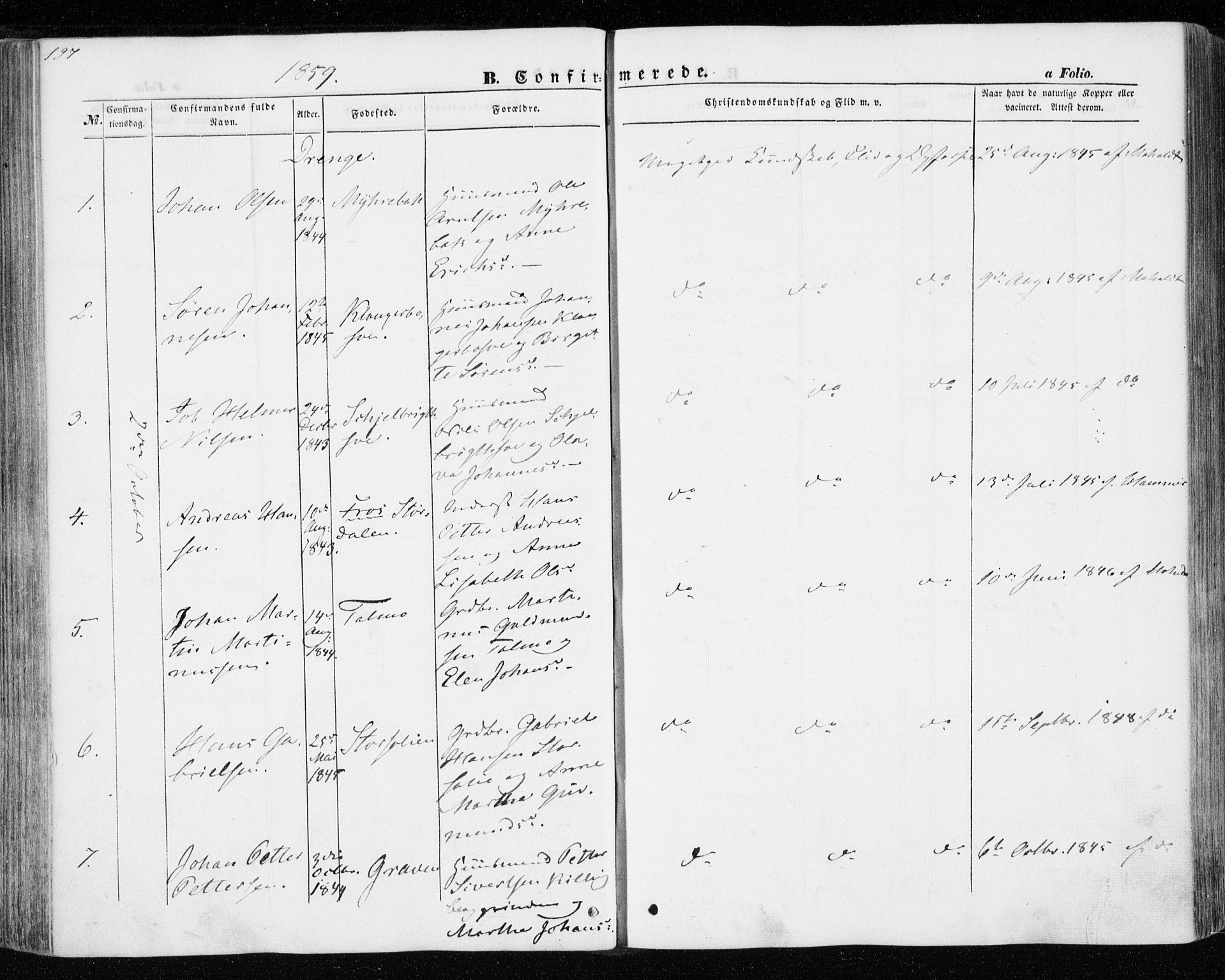 SAT, Ministerialprotokoller, klokkerbøker og fødselsregistre - Nord-Trøndelag, 701/L0008: Ministerialbok nr. 701A08 /1, 1854-1863, s. 197