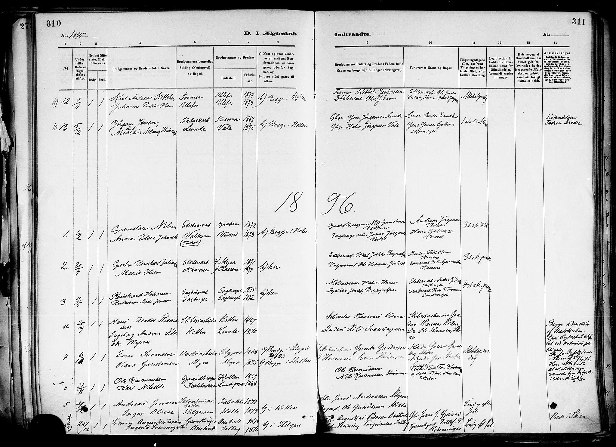 SAKO, Holla kirkebøker, F/Fa/L0008: Ministerialbok nr. 8, 1882-1897, s. 310