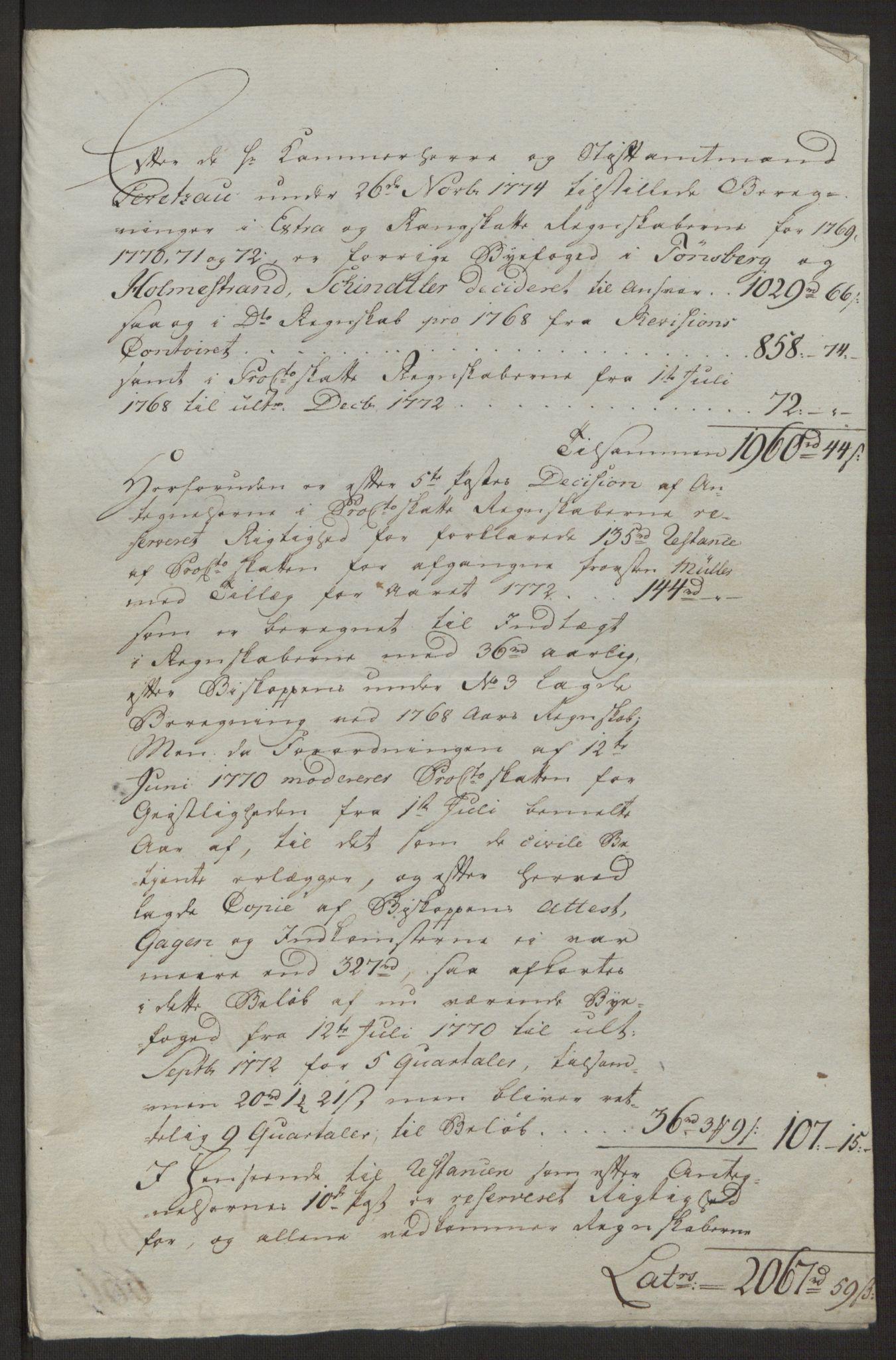 RA, Rentekammeret inntil 1814, Reviderte regnskaper, Byregnskaper, R/Rh/L0162: [H4] Kontribusjonsregnskap, 1762-1772, s. 476