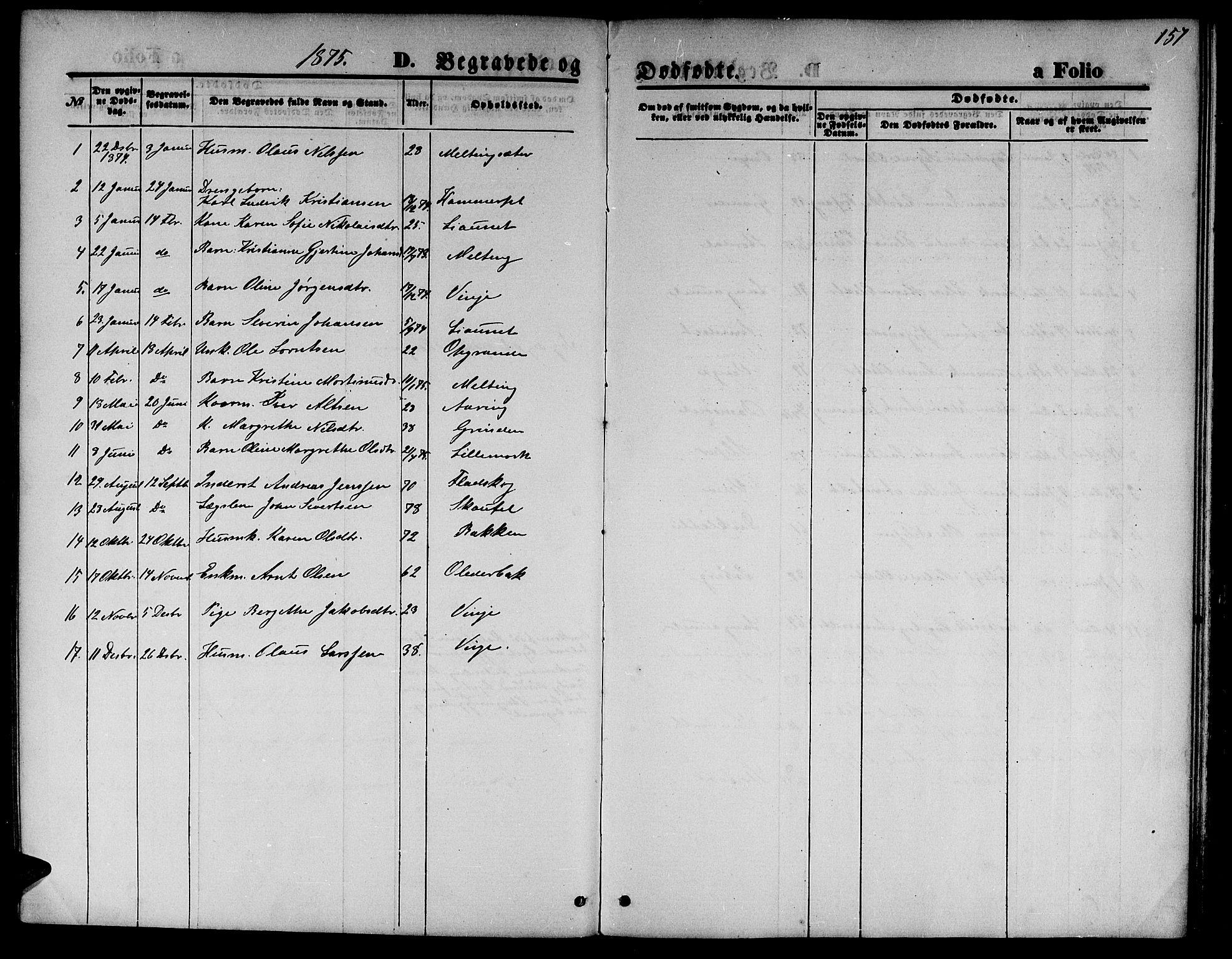 SAT, Ministerialprotokoller, klokkerbøker og fødselsregistre - Nord-Trøndelag, 733/L0326: Klokkerbok nr. 733C01, 1871-1887, s. 157