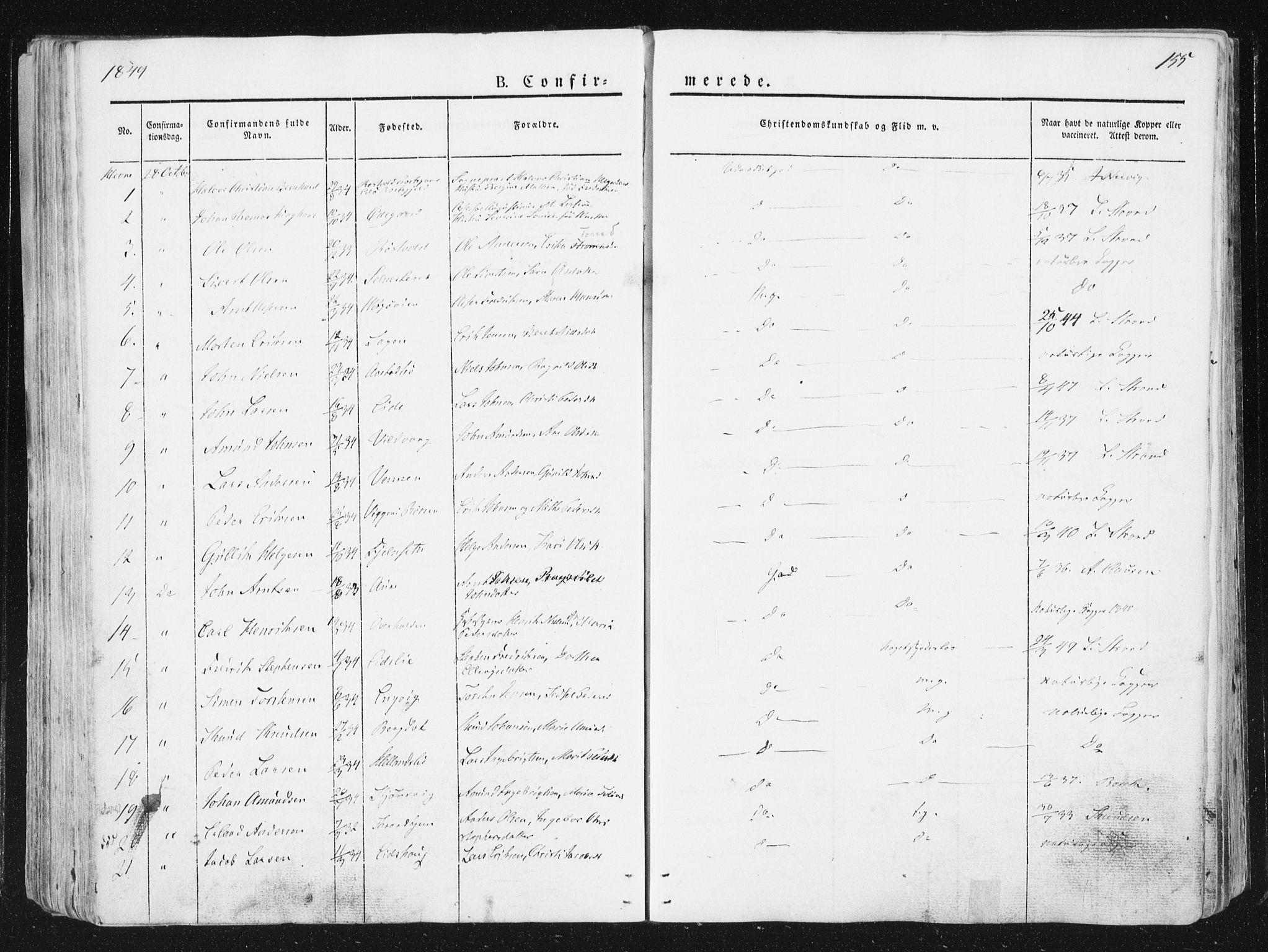SAT, Ministerialprotokoller, klokkerbøker og fødselsregistre - Sør-Trøndelag, 630/L0493: Ministerialbok nr. 630A06, 1841-1851, s. 155