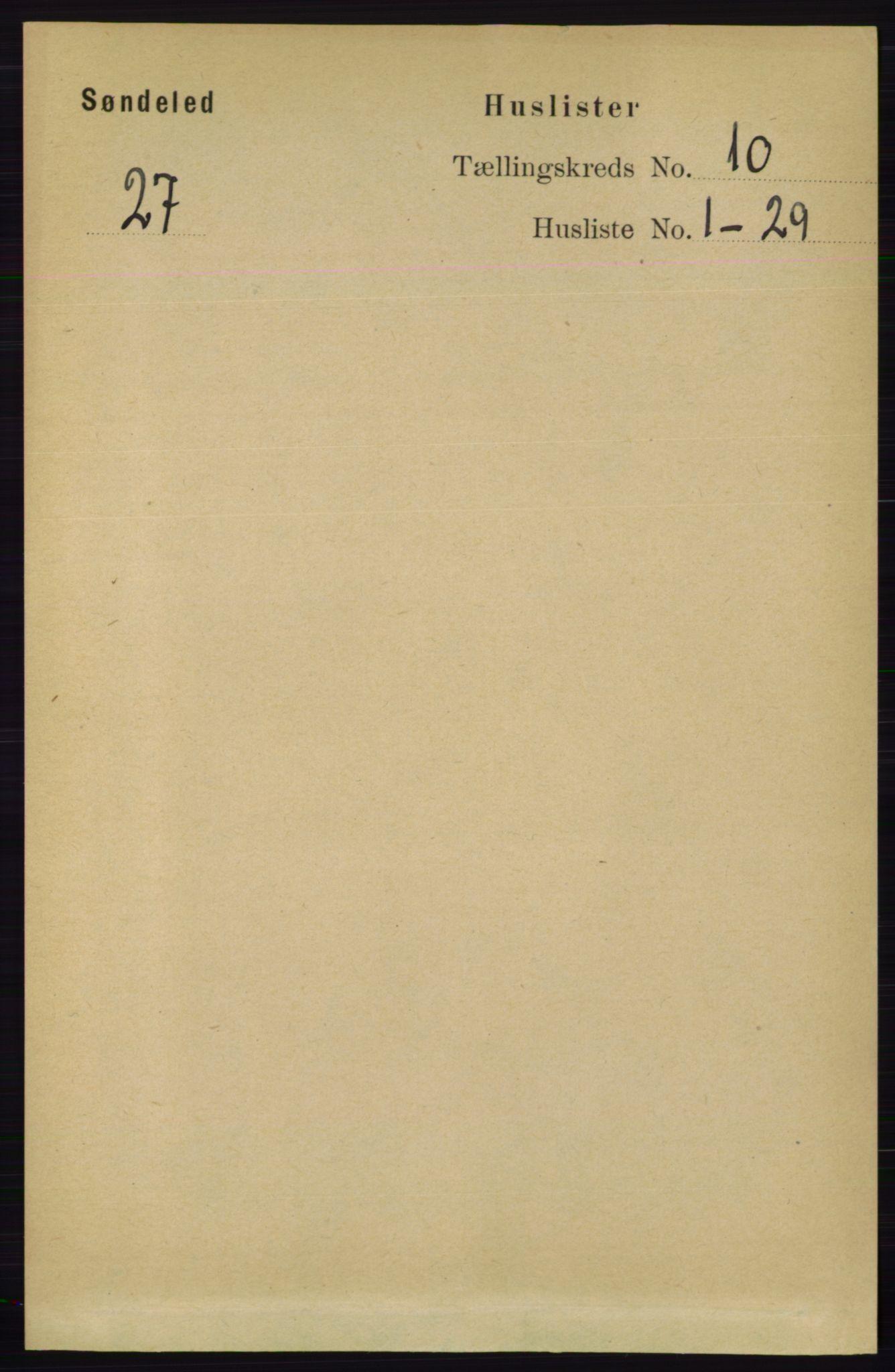 RA, Folketelling 1891 for 0913 Søndeled herred, 1891, s. 3033
