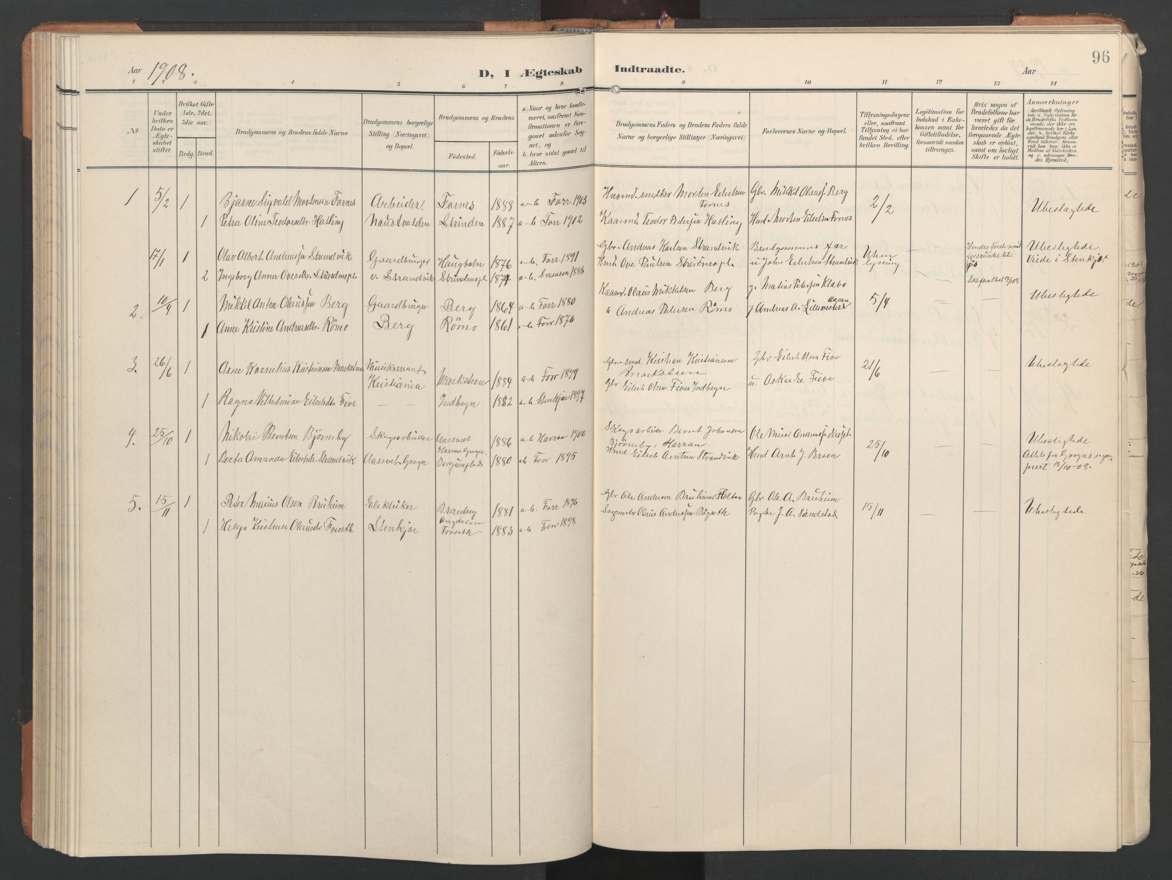 SAT, Ministerialprotokoller, klokkerbøker og fødselsregistre - Nord-Trøndelag, 746/L0455: Klokkerbok nr. 746C01, 1908-1933, s. 96