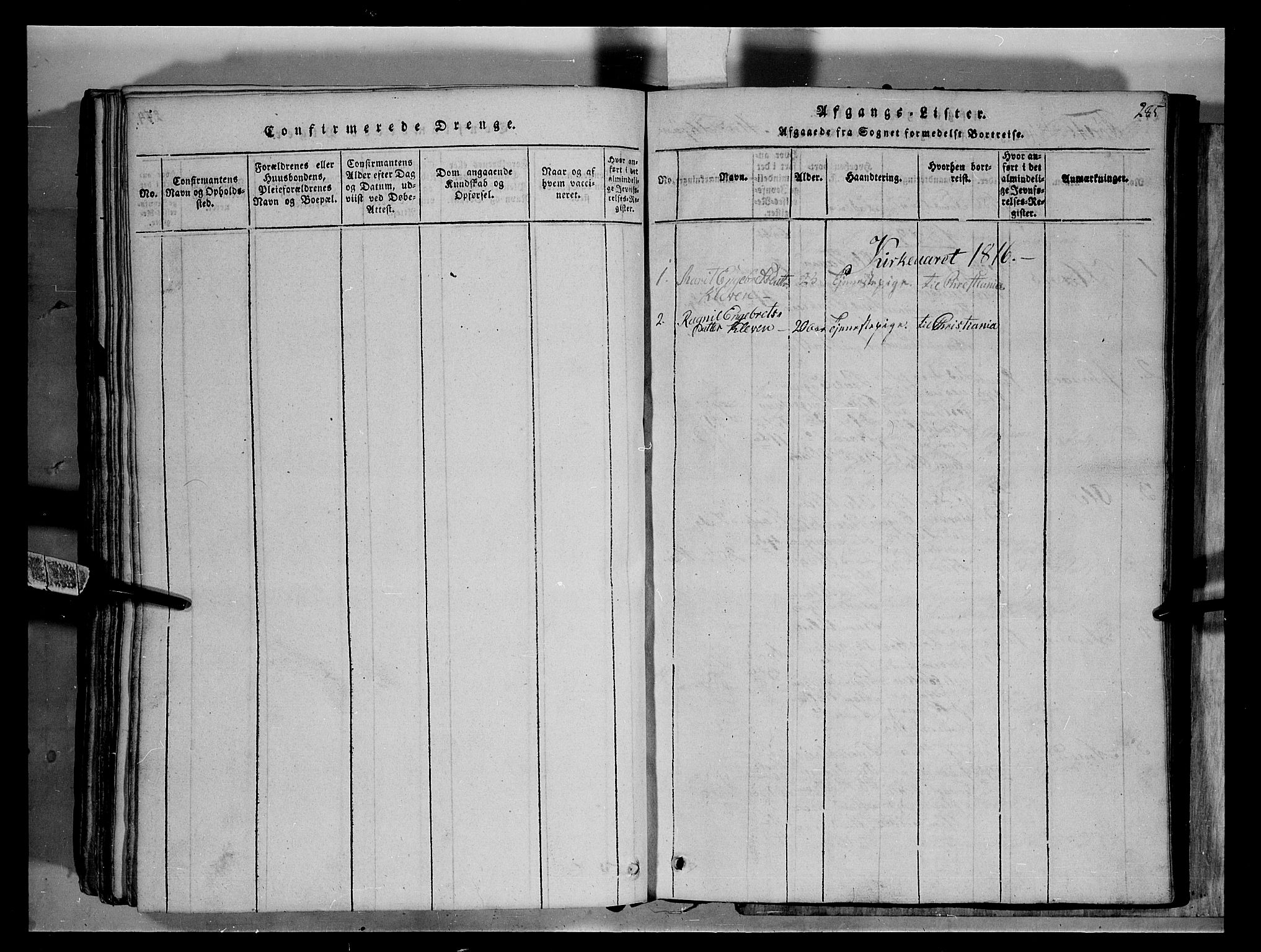SAH, Fron prestekontor, H/Ha/Hab/L0004: Klokkerbok nr. 4, 1816-1850, s. 285