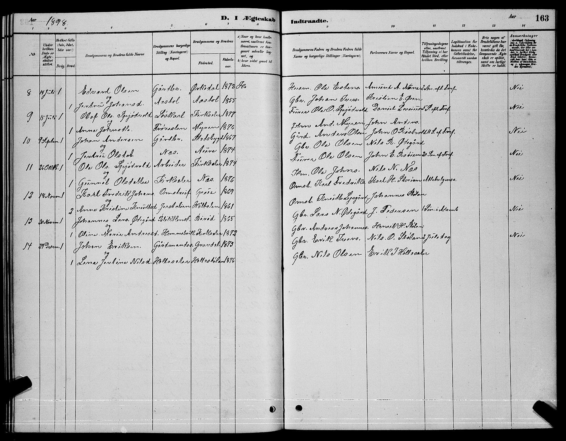 SAT, Ministerialprotokoller, klokkerbøker og fødselsregistre - Sør-Trøndelag, 630/L0504: Klokkerbok nr. 630C02, 1879-1898, s. 163