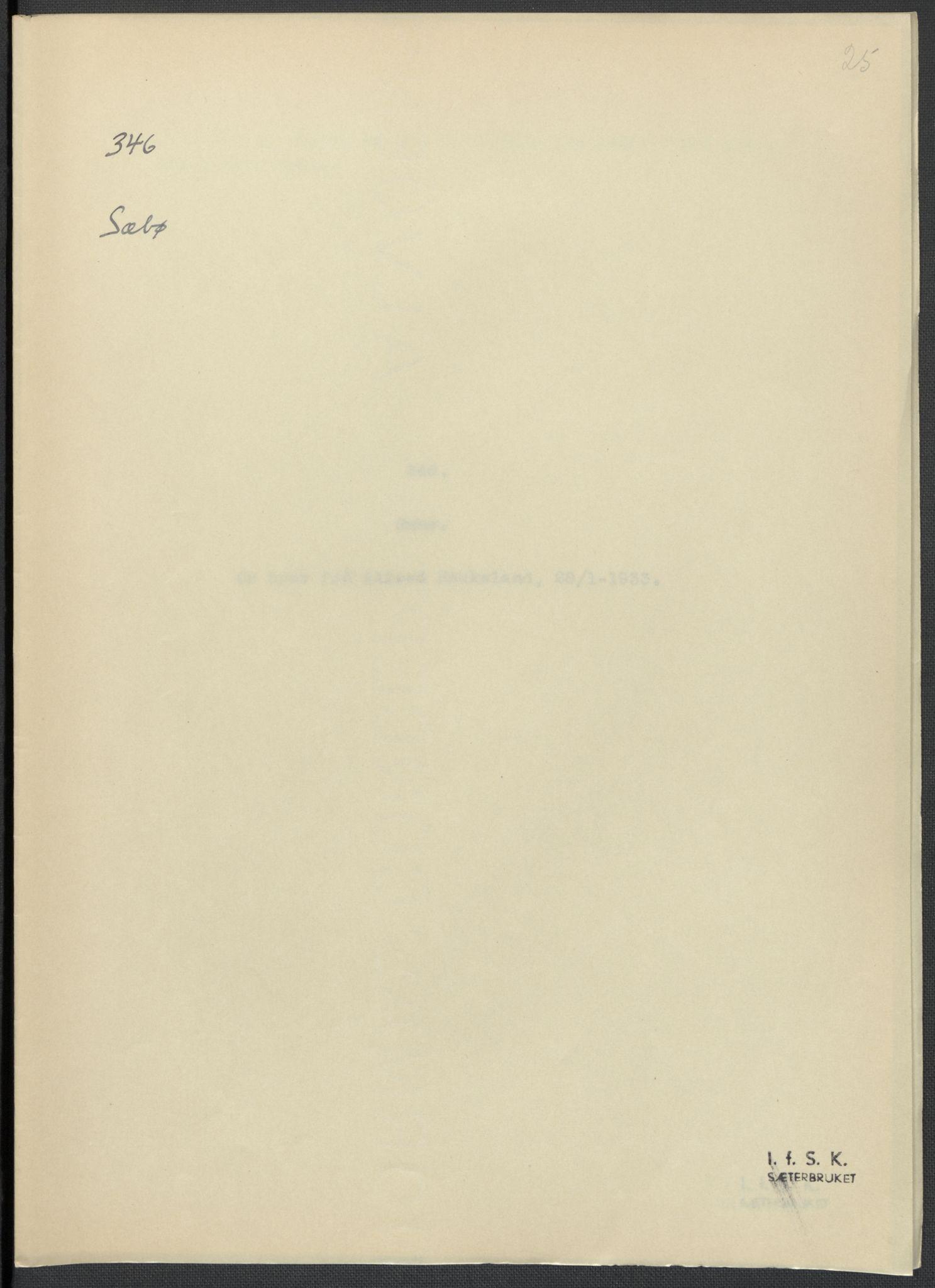 RA, Instituttet for sammenlignende kulturforskning, F/Fc/L0010: Eske B10:, 1932-1935, s. 25