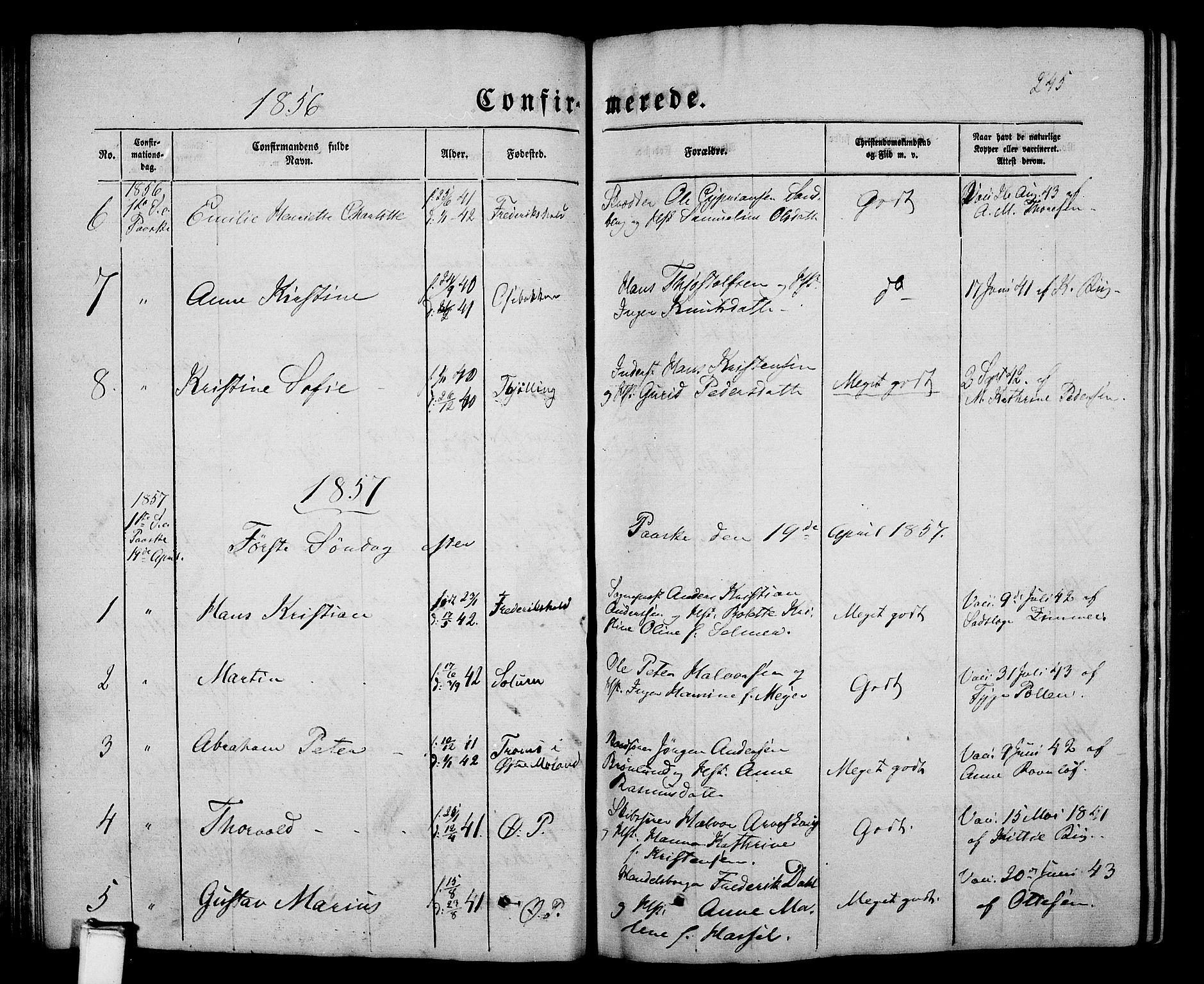 SAKO, Porsgrunn kirkebøker , G/Gb/L0004: Klokkerbok nr. II 4, 1853-1882, s. 245