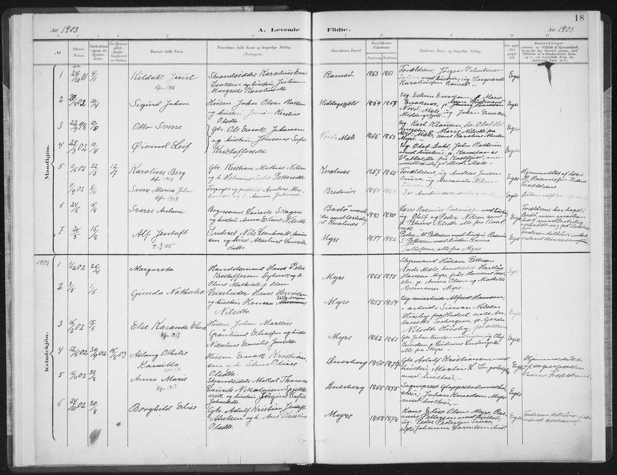SAT, Ministerialprotokoller, klokkerbøker og fødselsregistre - Nordland, 897/L1400: Ministerialbok nr. 897A07, 1897-1908, s. 18