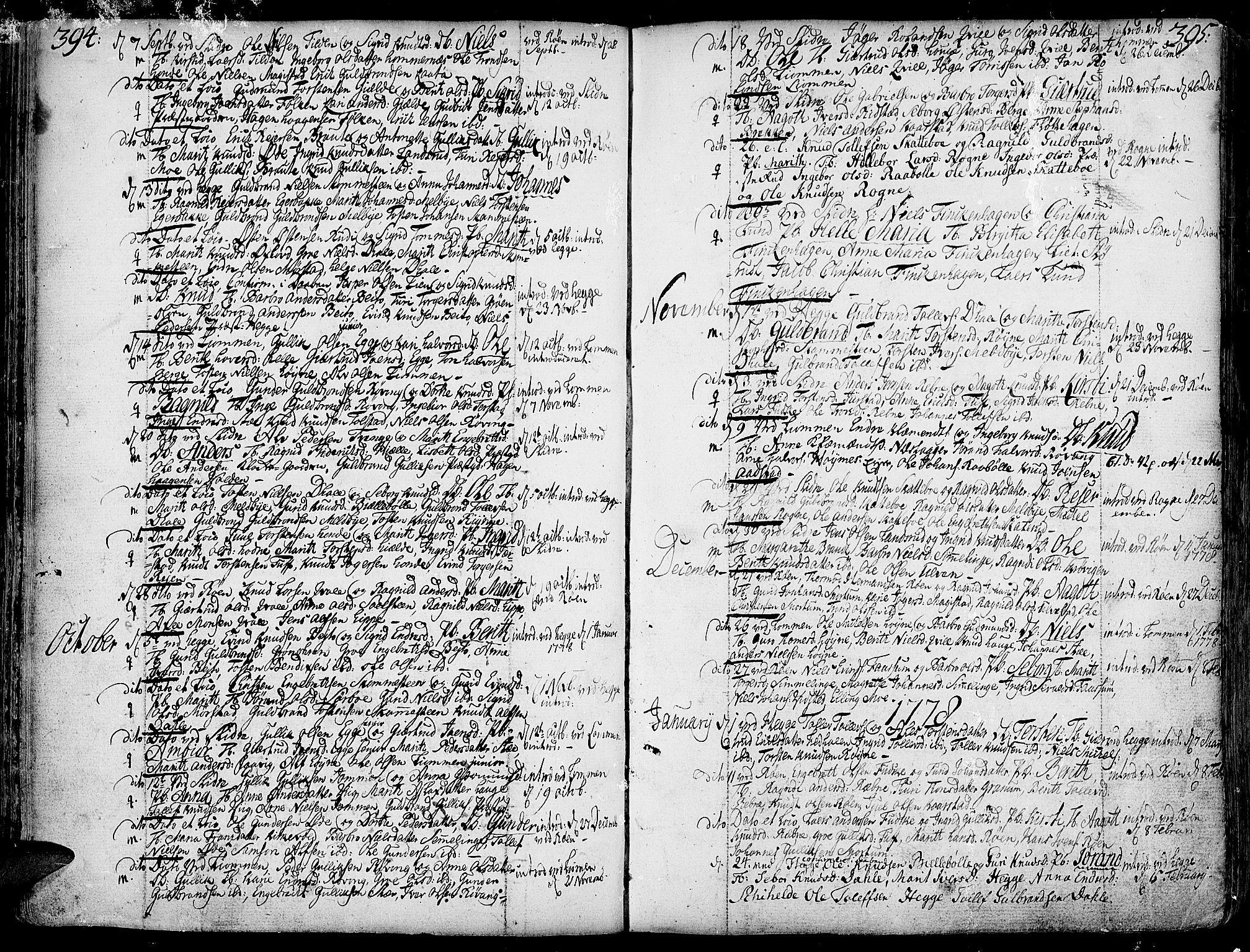 SAH, Slidre prestekontor, Ministerialbok nr. 1, 1724-1814, s. 394-395