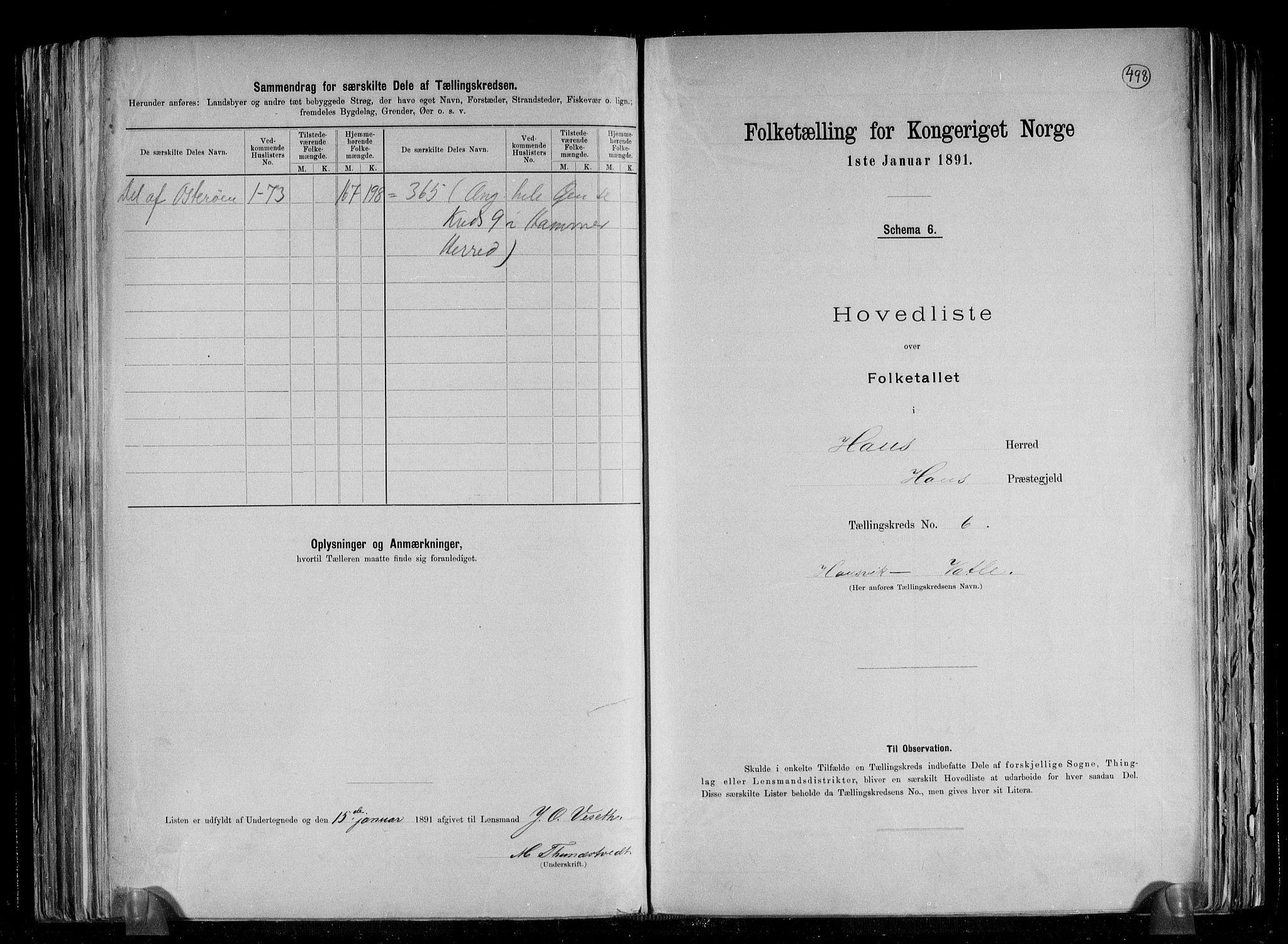 RA, Folketelling 1891 for 1250 Haus herred, 1891, s. 14