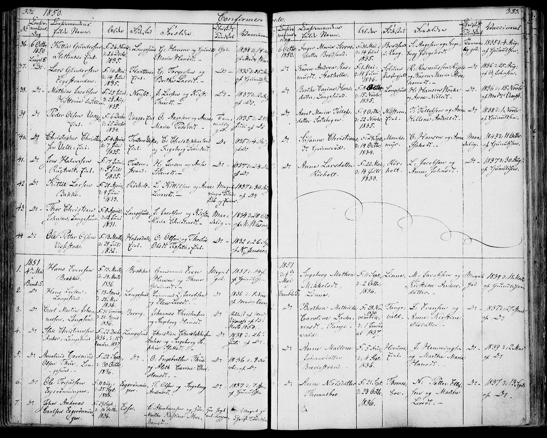 SAKO, Bamble kirkebøker, F/Fa/L0004: Ministerialbok nr. I 4, 1834-1853, s. 332-333