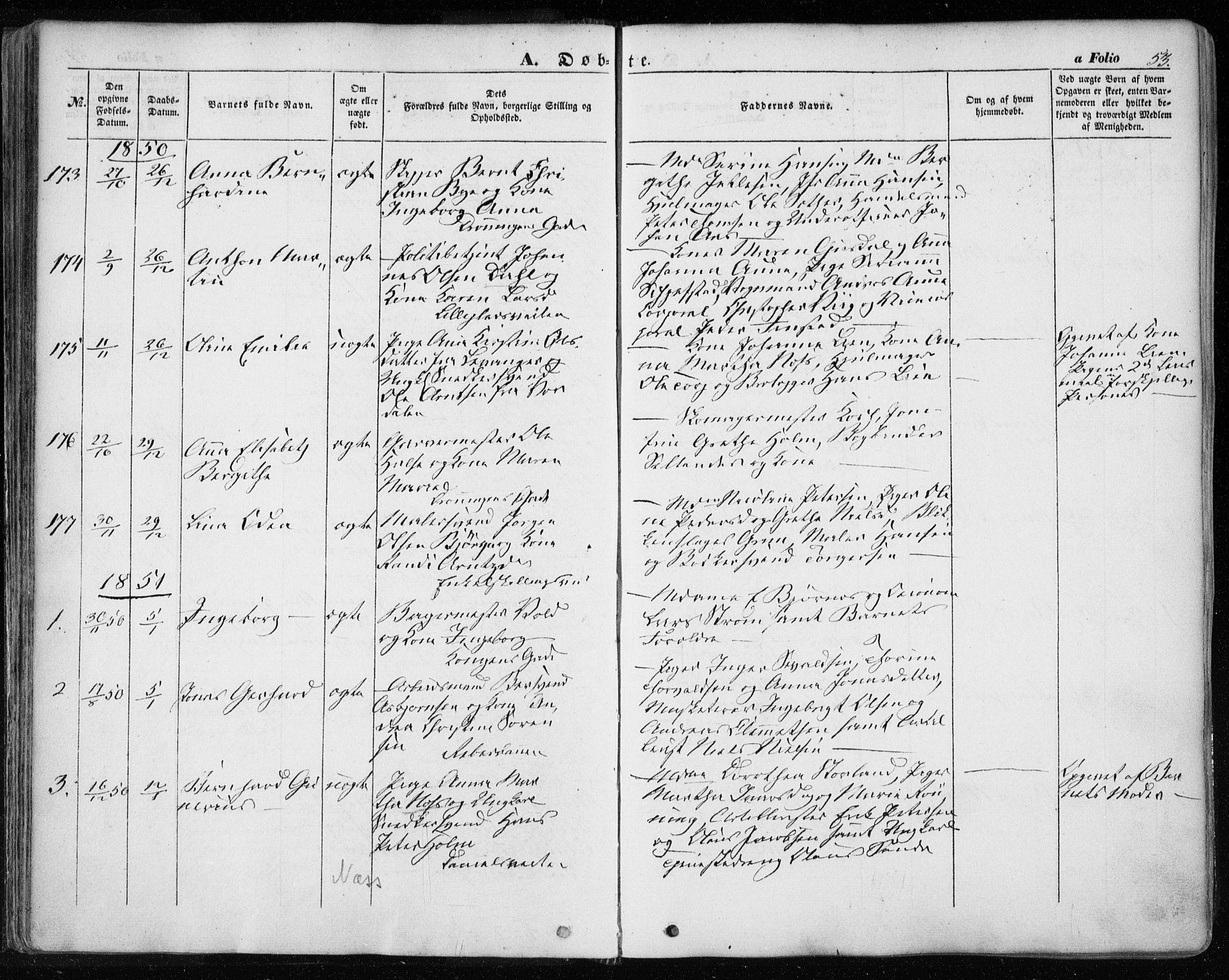 SAT, Ministerialprotokoller, klokkerbøker og fødselsregistre - Sør-Trøndelag, 601/L0051: Ministerialbok nr. 601A19, 1848-1857, s. 53