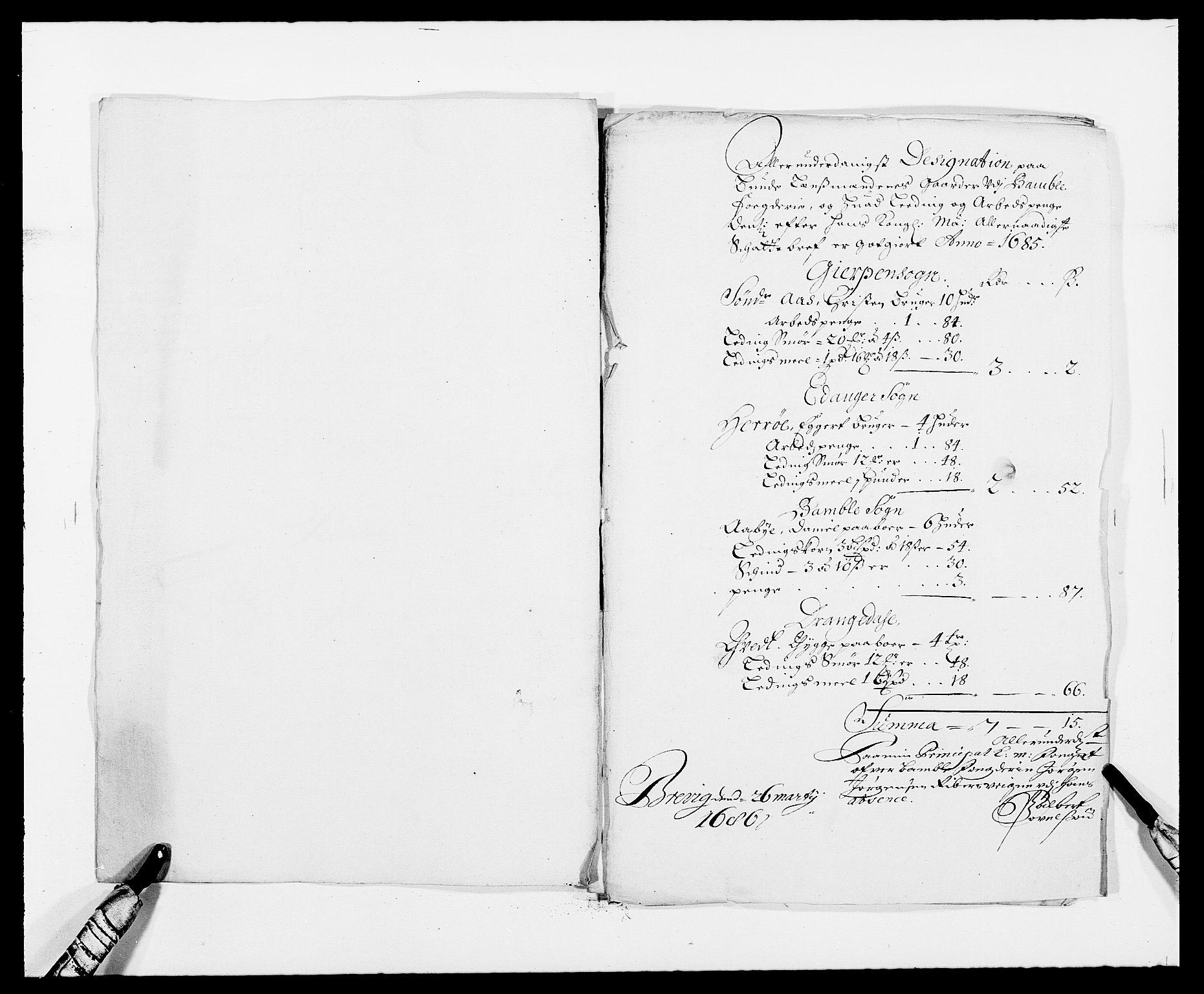 RA, Rentekammeret inntil 1814, Reviderte regnskaper, Fogderegnskap, R34/L2048: Fogderegnskap Bamble, 1685-1687, s. 188