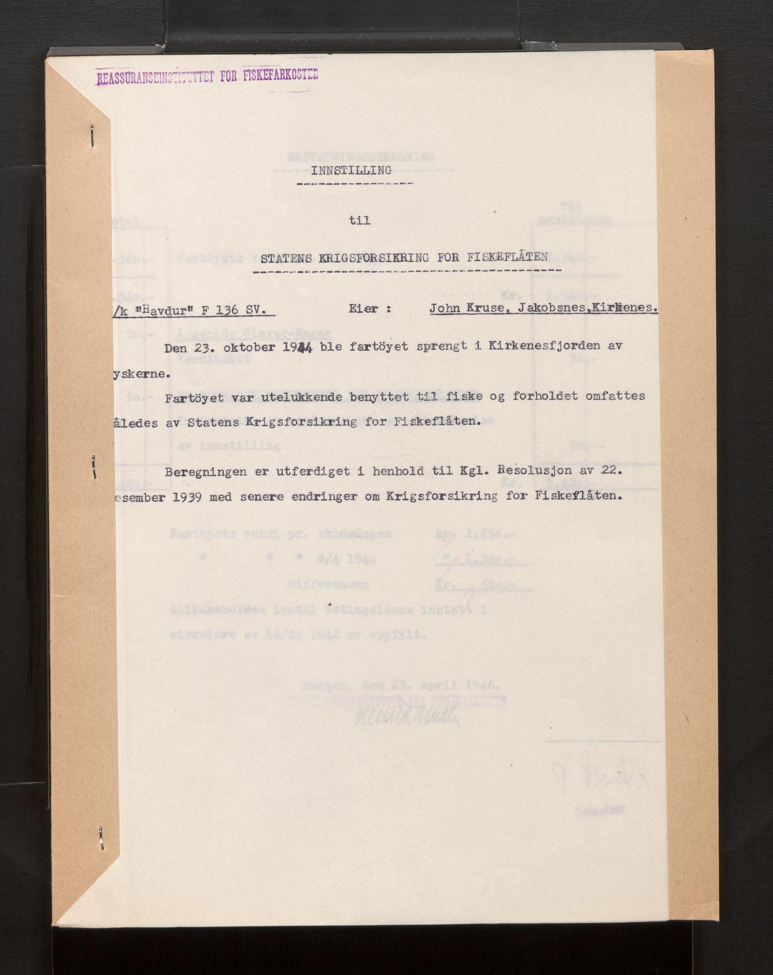 SAB, Fiskeridirektoratet - 1 Adm. ledelse - 13 Båtkontoret, La/L0042: Statens krigsforsikring for fiskeflåten, 1936-1971, s. 600
