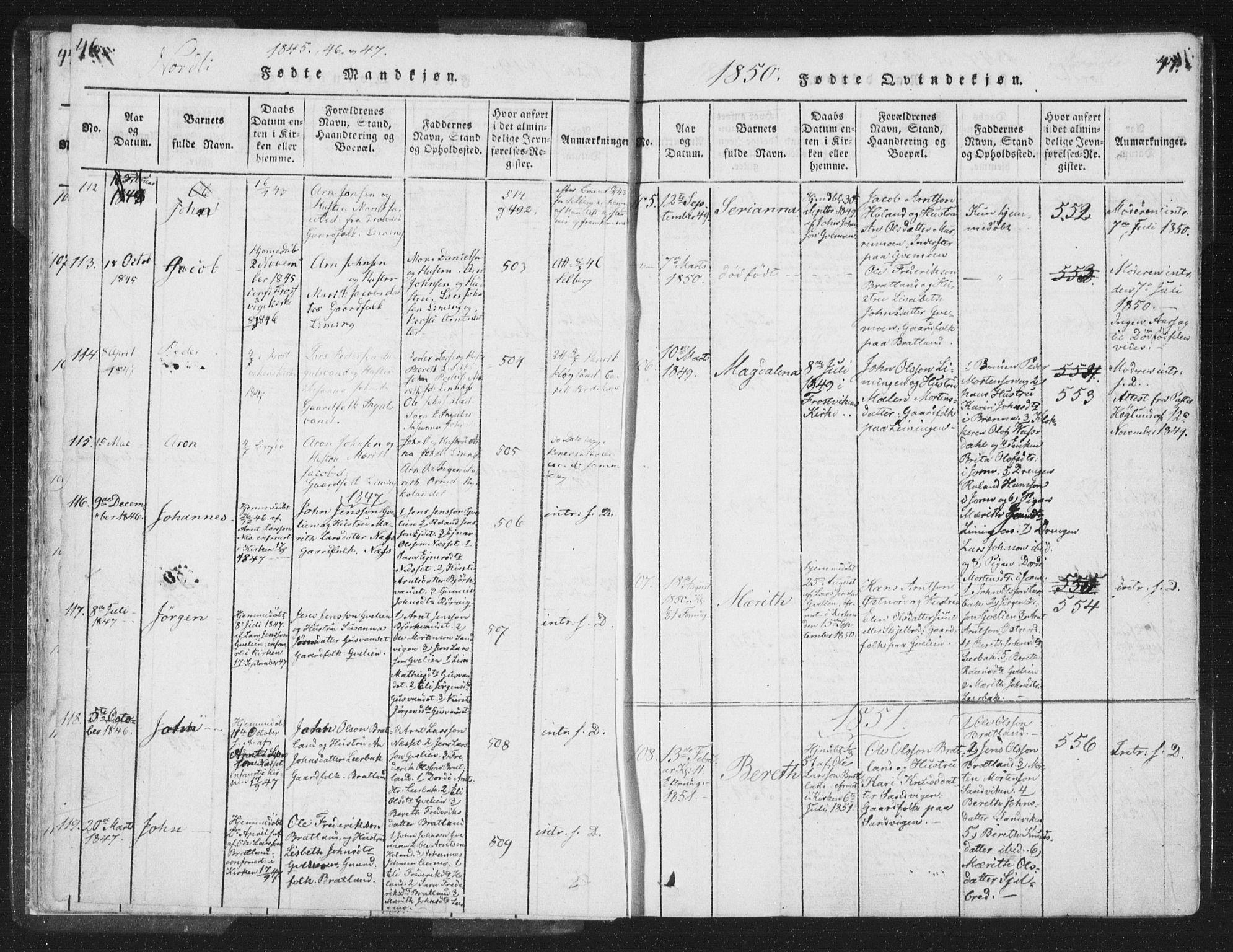 SAT, Ministerialprotokoller, klokkerbøker og fødselsregistre - Nord-Trøndelag, 755/L0491: Ministerialbok nr. 755A01 /1, 1817-1864, s. 46-47