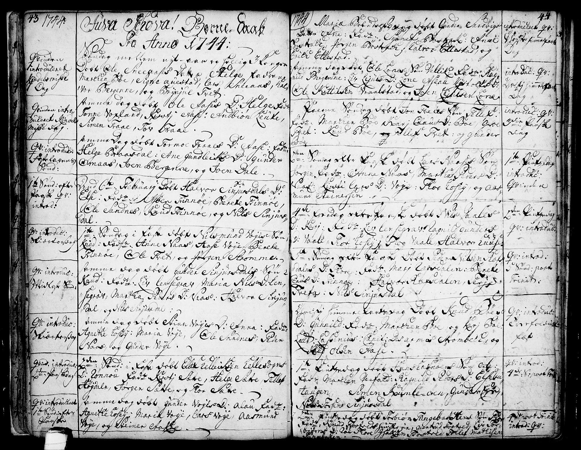 SAKO, Drangedal kirkebøker, F/Fa/L0002: Ministerialbok nr. 2, 1733-1753, s. 43-44