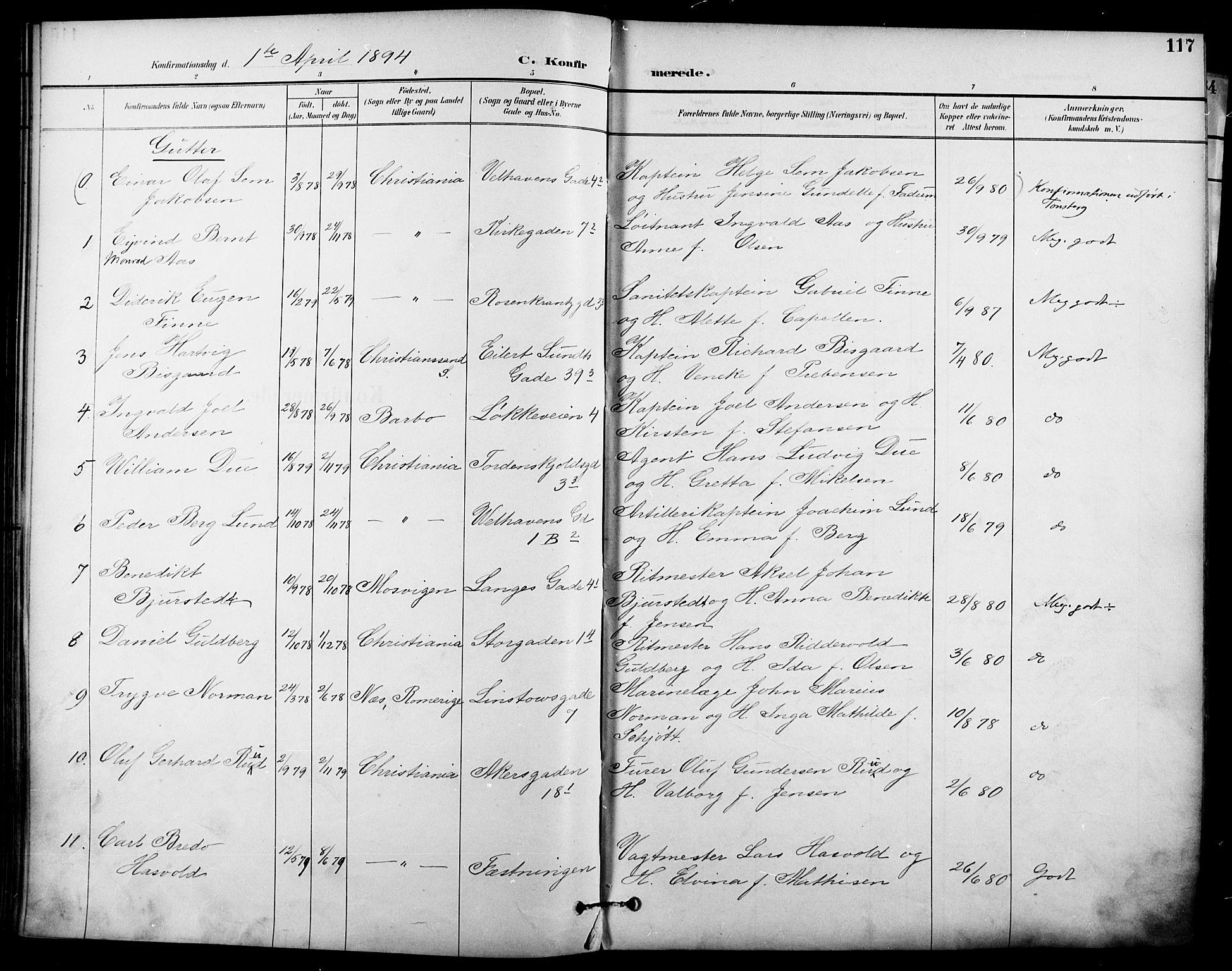 SAO, Garnisonsmenigheten Kirkebøker, F/Fa/L0013: Ministerialbok nr. 13, 1894-1904, s. 117