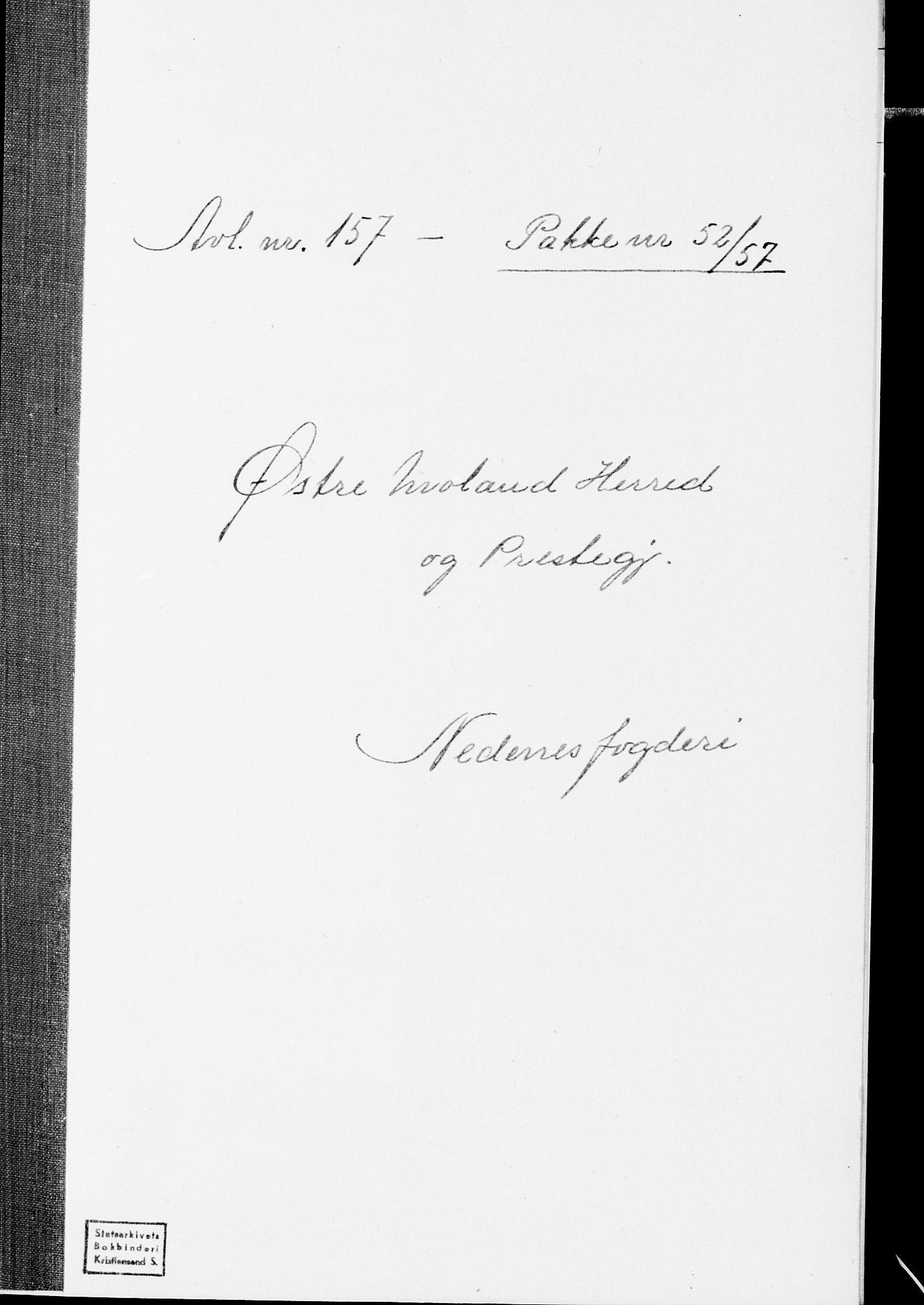 SAK, Folketelling 1875 for 0918P Austre Moland prestegjeld, 1875, s. 1