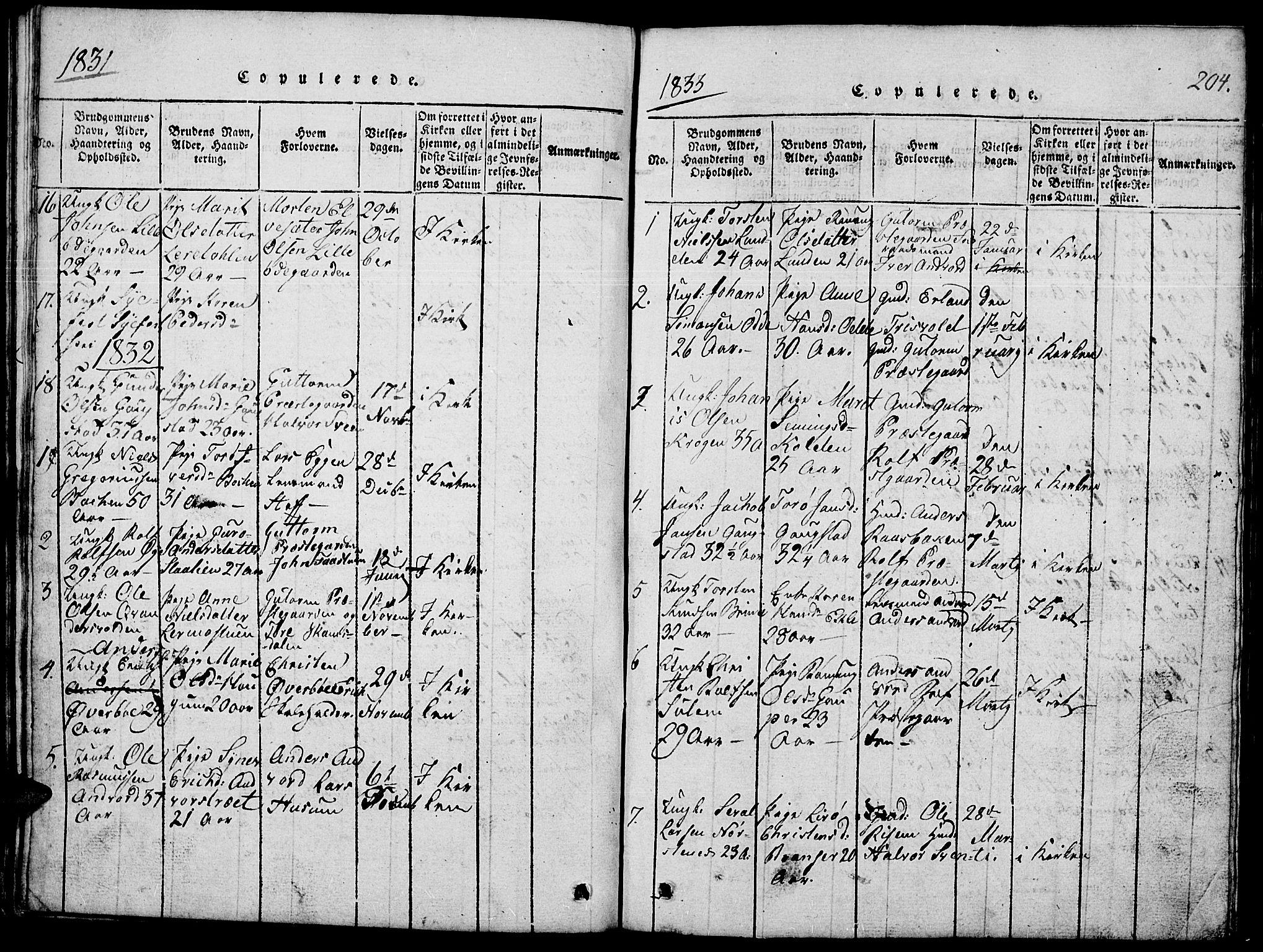 SAH, Lom prestekontor, L/L0001: Klokkerbok nr. 1, 1815-1836, s. 204