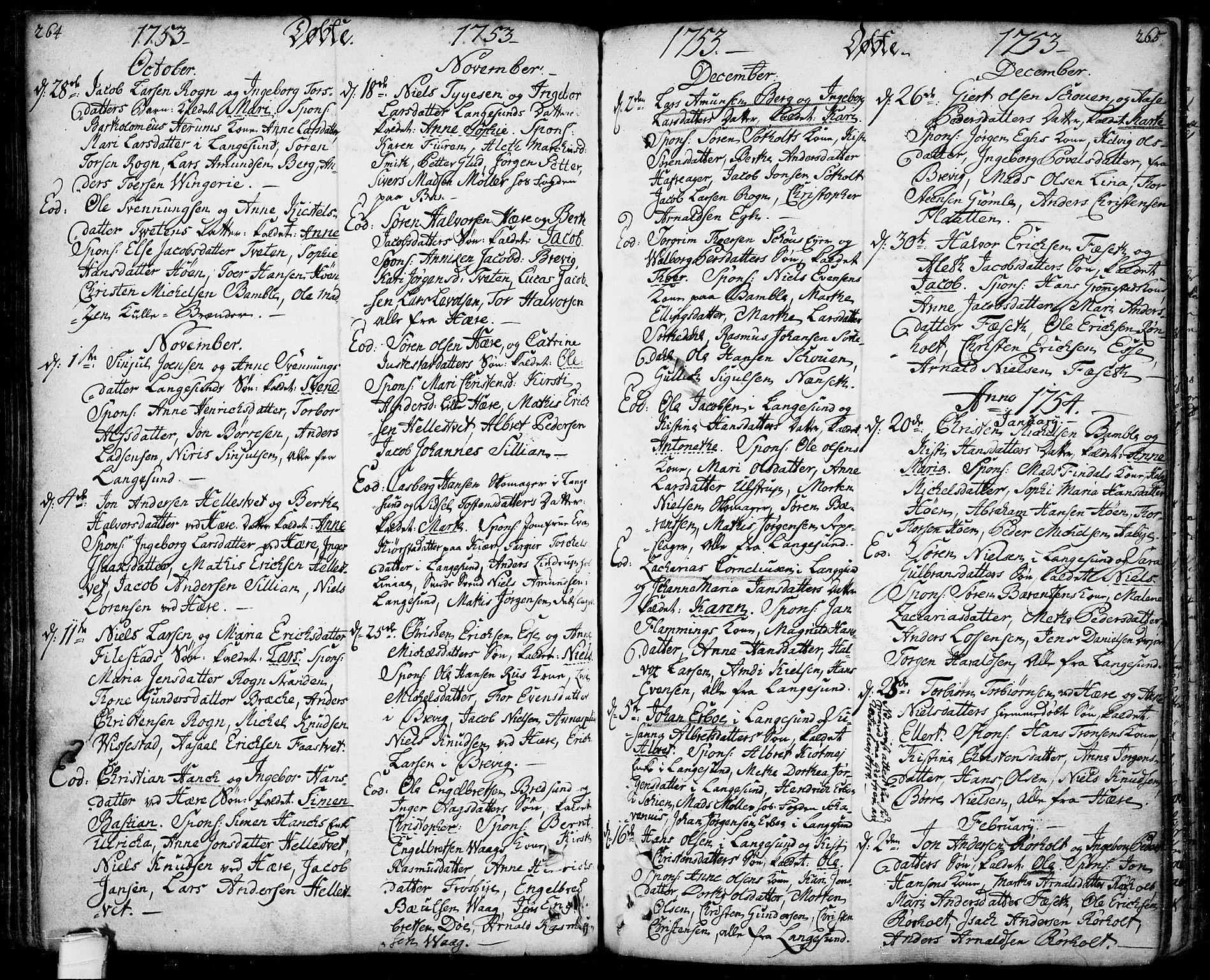 SAKO, Bamble kirkebøker, F/Fa/L0001: Ministerialbok nr. I 1, 1702-1774, s. 264-265