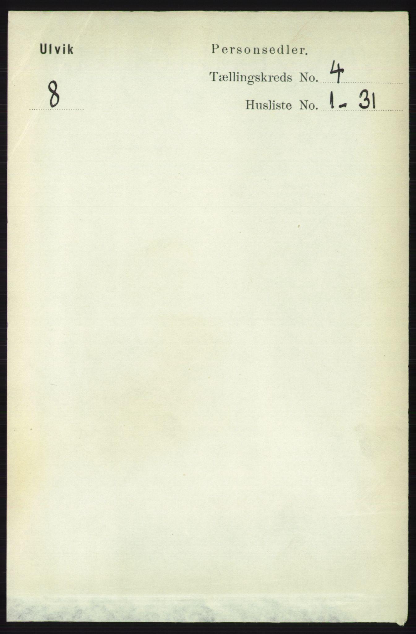 RA, Folketelling 1891 for 1233 Ulvik herred, 1891, s. 587