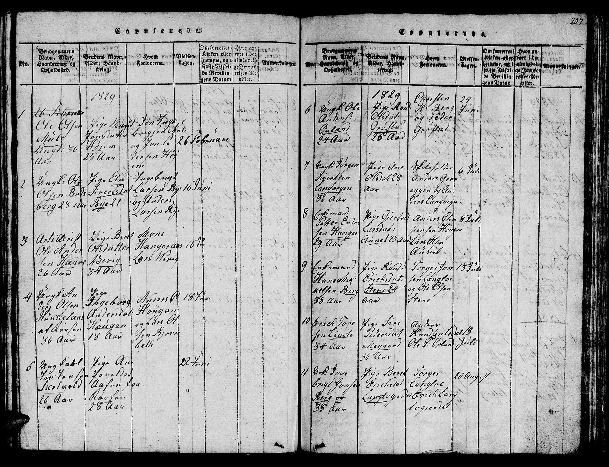 SAT, Ministerialprotokoller, klokkerbøker og fødselsregistre - Sør-Trøndelag, 612/L0385: Klokkerbok nr. 612C01, 1816-1845, s. 207