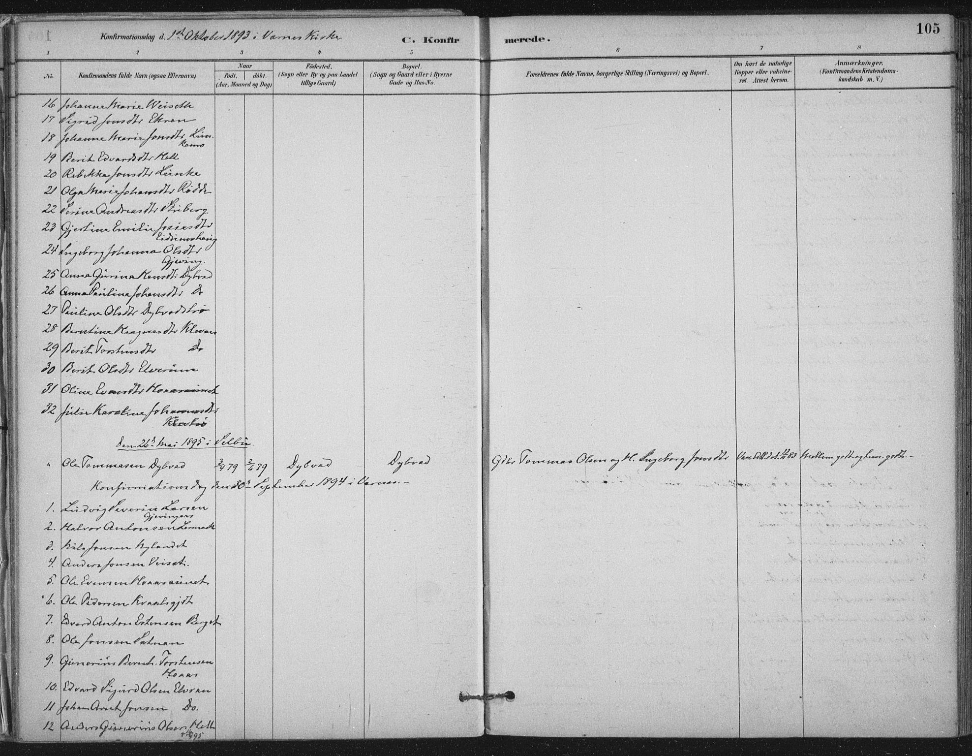 SAT, Ministerialprotokoller, klokkerbøker og fødselsregistre - Nord-Trøndelag, 710/L0095: Ministerialbok nr. 710A01, 1880-1914, s. 105