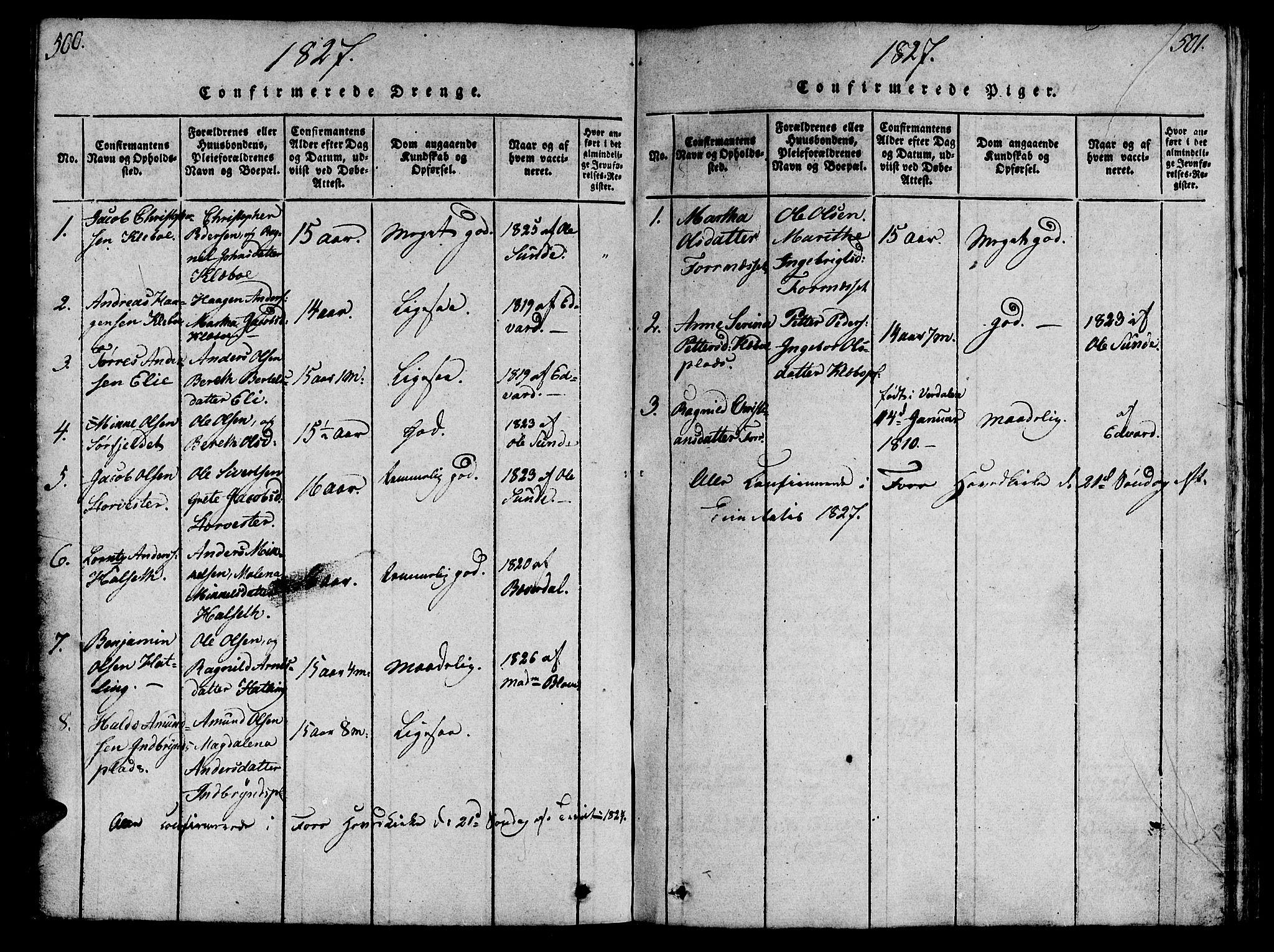SAT, Ministerialprotokoller, klokkerbøker og fødselsregistre - Nord-Trøndelag, 746/L0441: Ministerialbok nr. 746A03 /1, 1816-1827, s. 500-501