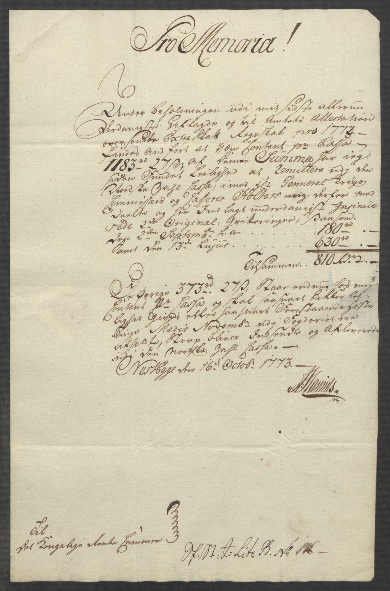 RA, Rentekammeret inntil 1814, Reviderte regnskaper, Fogderegnskap, R19/L1399: Fogderegnskap Toten, Hadeland og Vardal, 1762-1783, s. 265