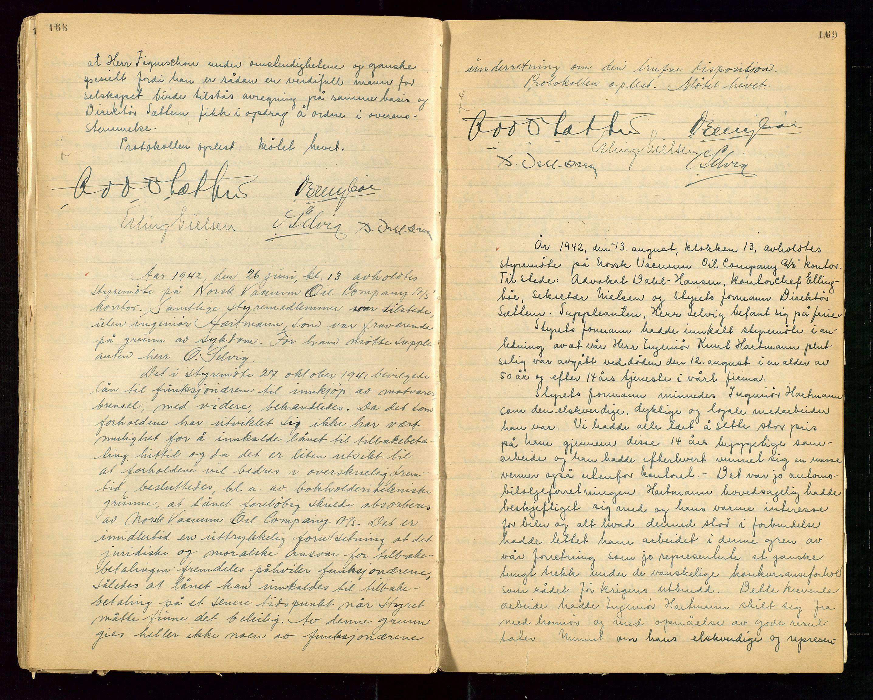 """SAST, PA 1513 - Norsk Vacuum Oil Company A/S, A/L0001: """"Generalforsamlings og styreprotokoll"""" fra 27/4-1918 til 6/4-1949, 1918-1949, s. 168-169"""