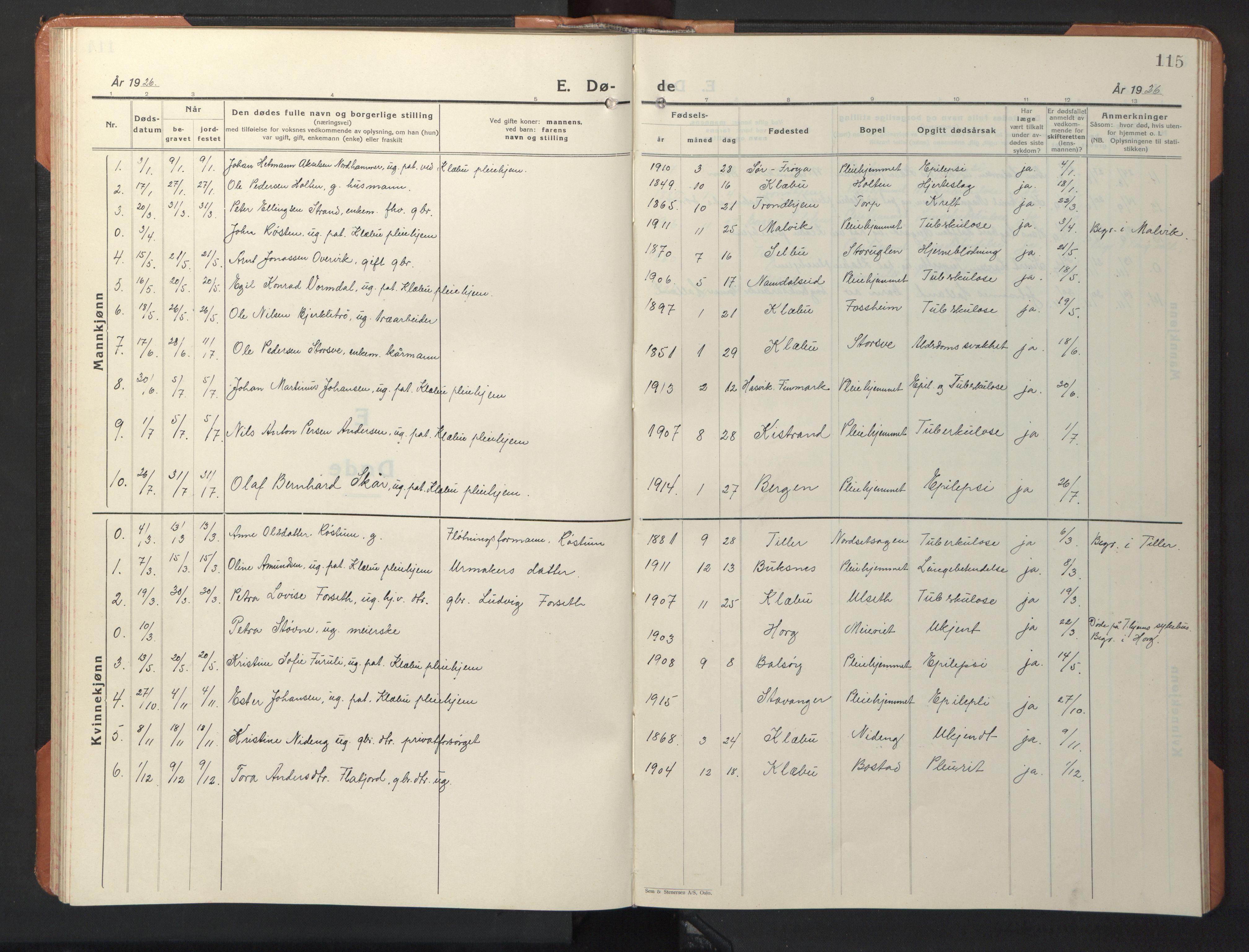 SAT, Ministerialprotokoller, klokkerbøker og fødselsregistre - Sør-Trøndelag, 618/L0454: Klokkerbok nr. 618C05, 1926-1946, s. 115