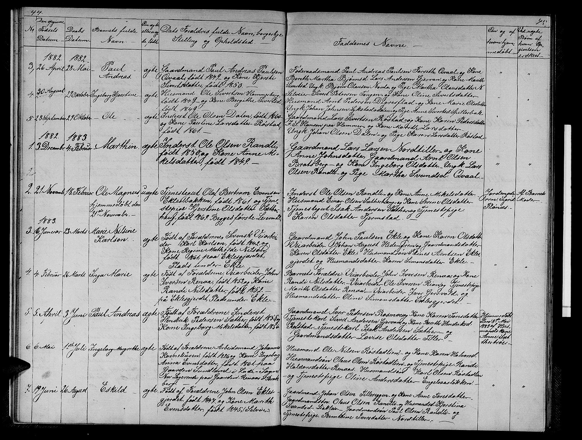 SAT, Ministerialprotokoller, klokkerbøker og fødselsregistre - Sør-Trøndelag, 608/L0340: Klokkerbok nr. 608C06, 1864-1889, s. 44-45