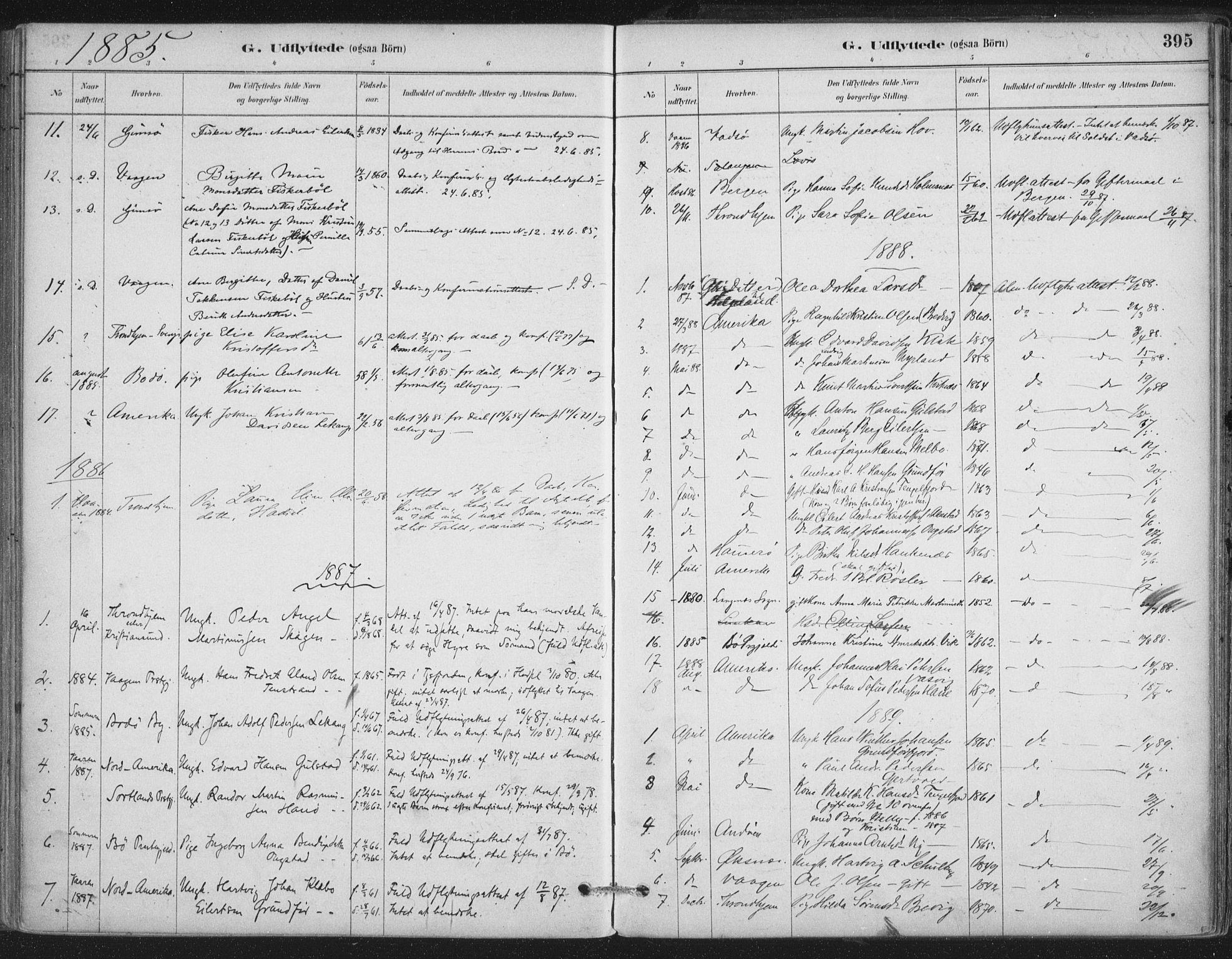 SAT, Ministerialprotokoller, klokkerbøker og fødselsregistre - Nordland, 888/L1244: Ministerialbok nr. 888A10, 1880-1890, s. 395
