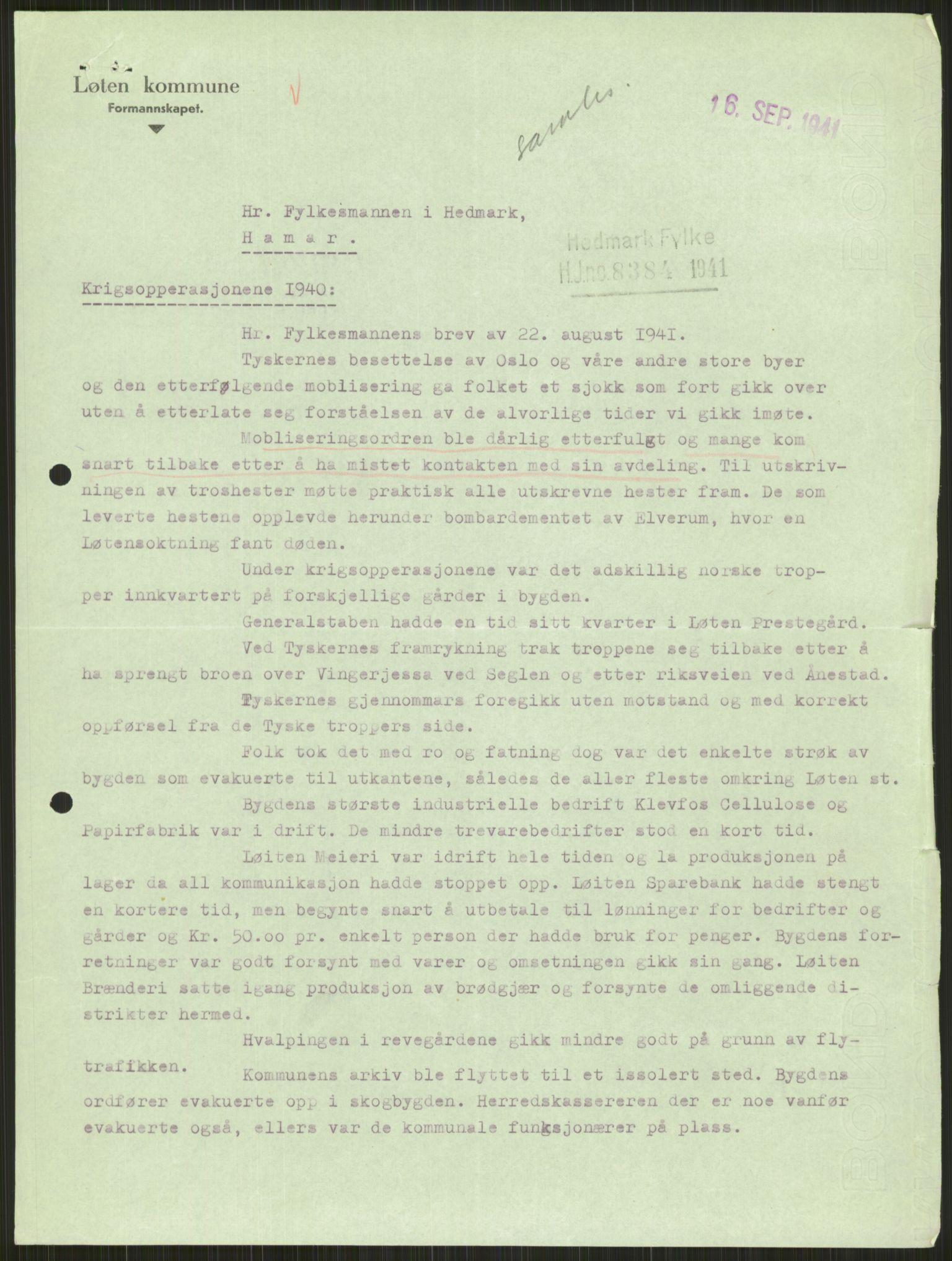 RA, Forsvaret, Forsvarets krigshistoriske avdeling, Y/Ya/L0013: II-C-11-31 - Fylkesmenn.  Rapporter om krigsbegivenhetene 1940., 1940, s. 931