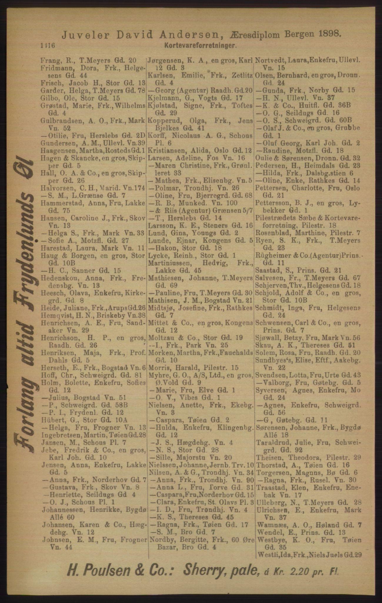 RA, Kristiania adressebok (publikasjon)*, 1906, s. 1416