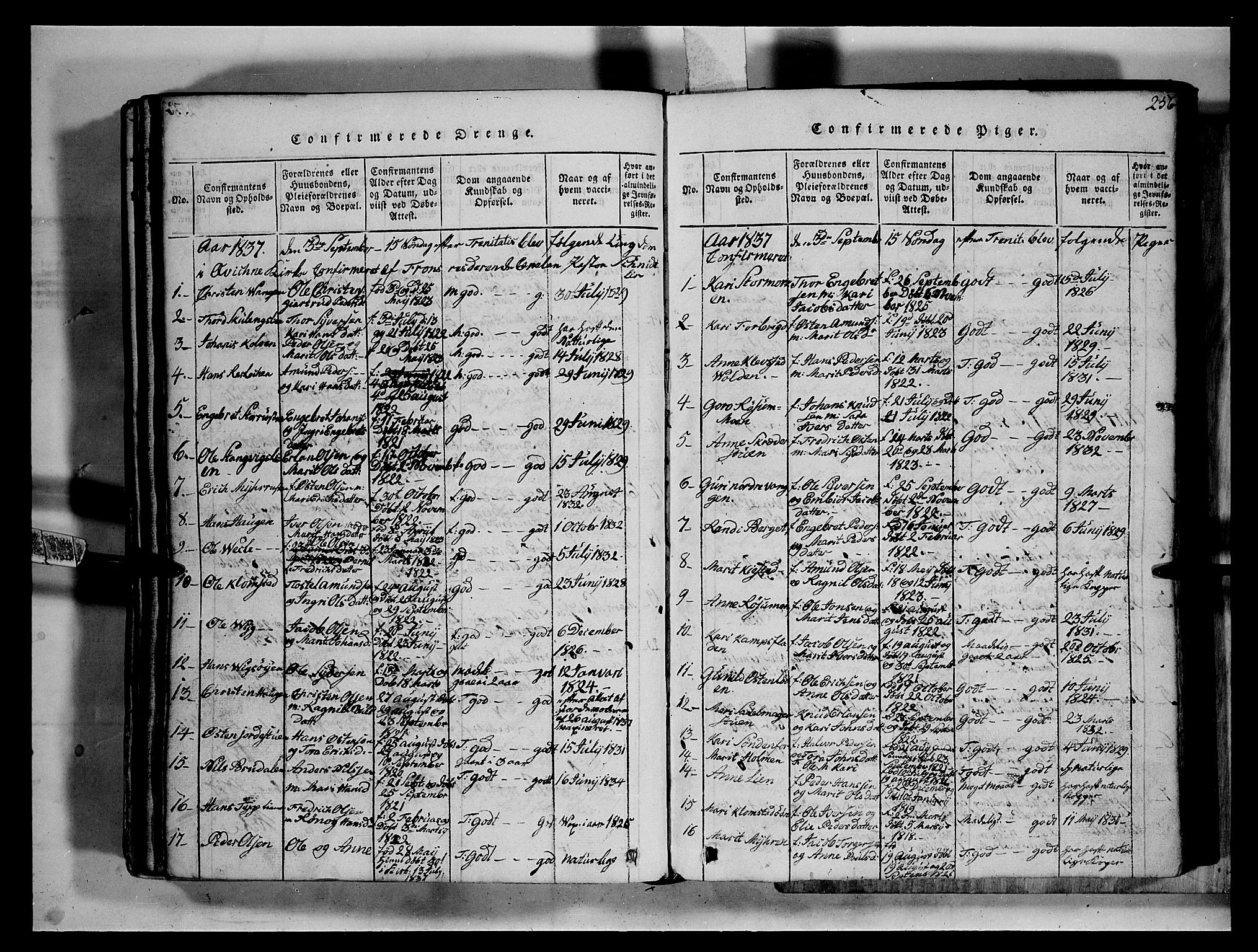 SAH, Fron prestekontor, H/Ha/Hab/L0002: Klokkerbok nr. 2, 1816-1850, s. 256