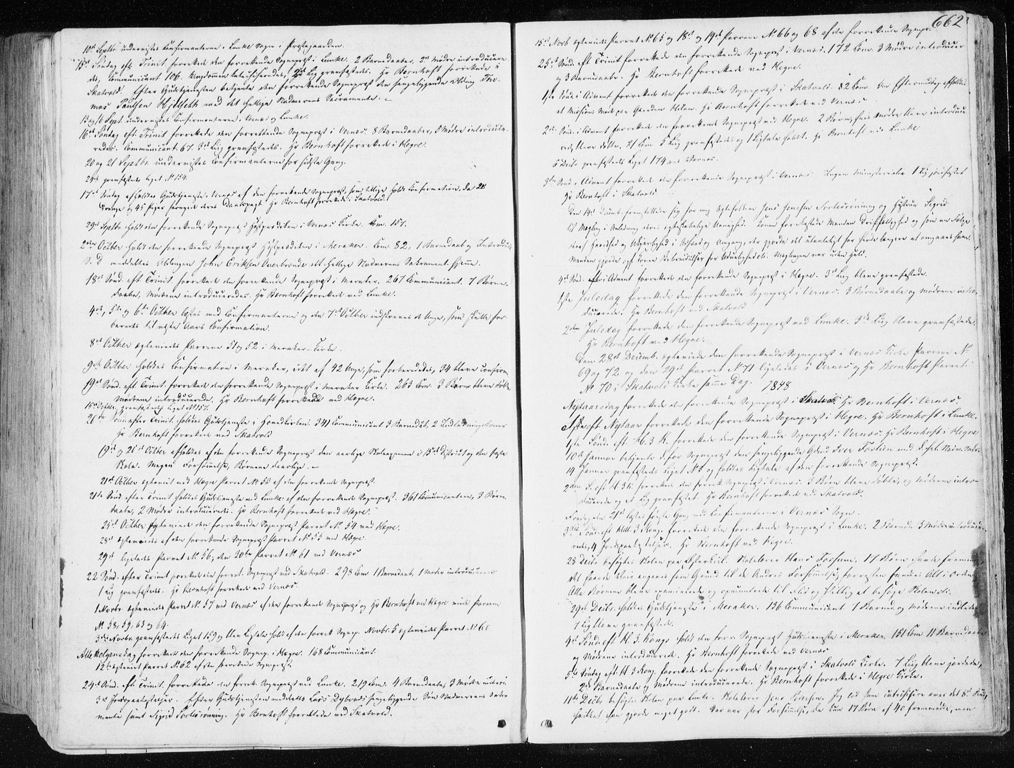 SAT, Ministerialprotokoller, klokkerbøker og fødselsregistre - Nord-Trøndelag, 709/L0074: Ministerialbok nr. 709A14, 1845-1858, s. 662