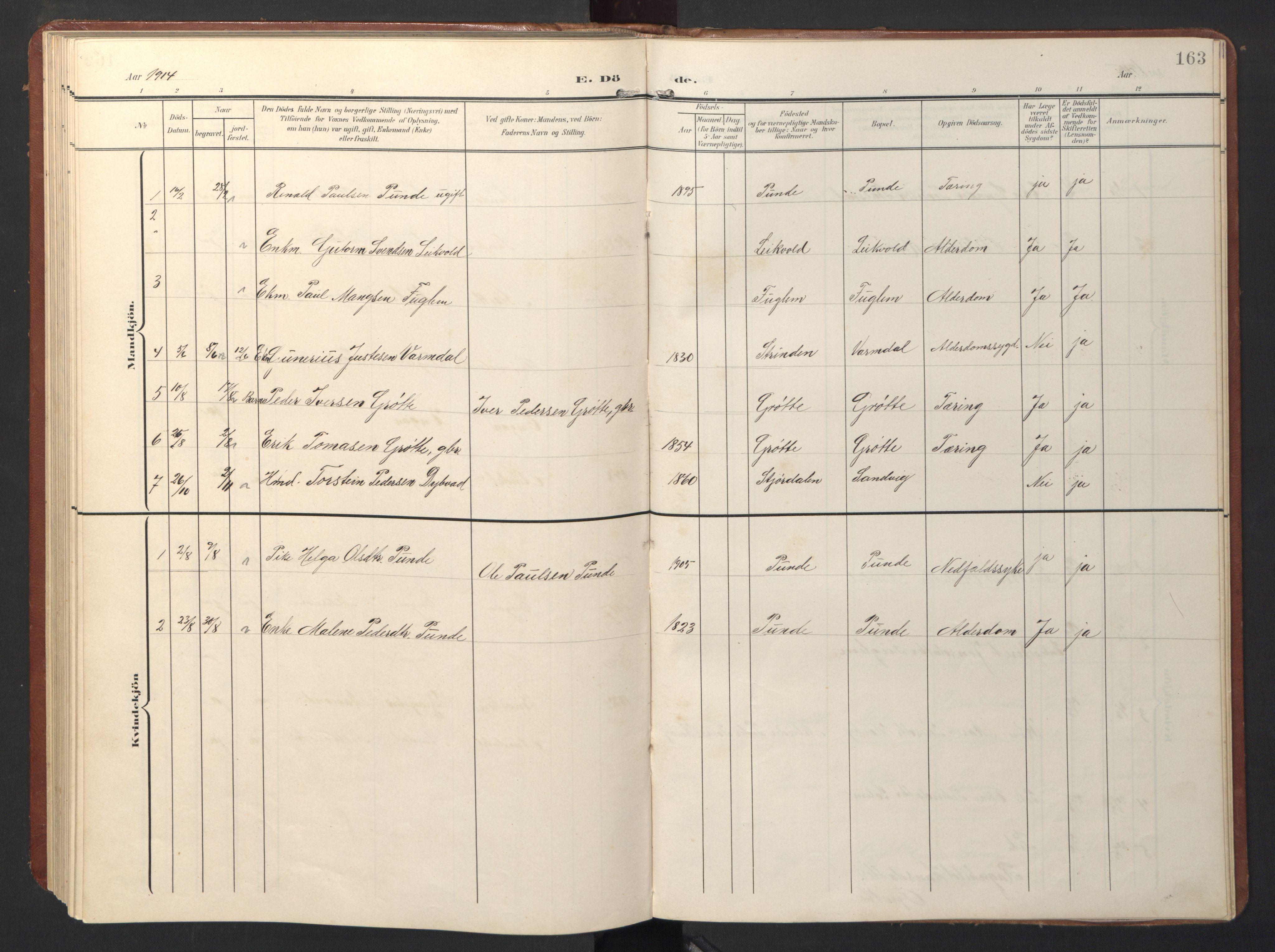 SAT, Ministerialprotokoller, klokkerbøker og fødselsregistre - Sør-Trøndelag, 696/L1161: Klokkerbok nr. 696C01, 1902-1950, s. 163