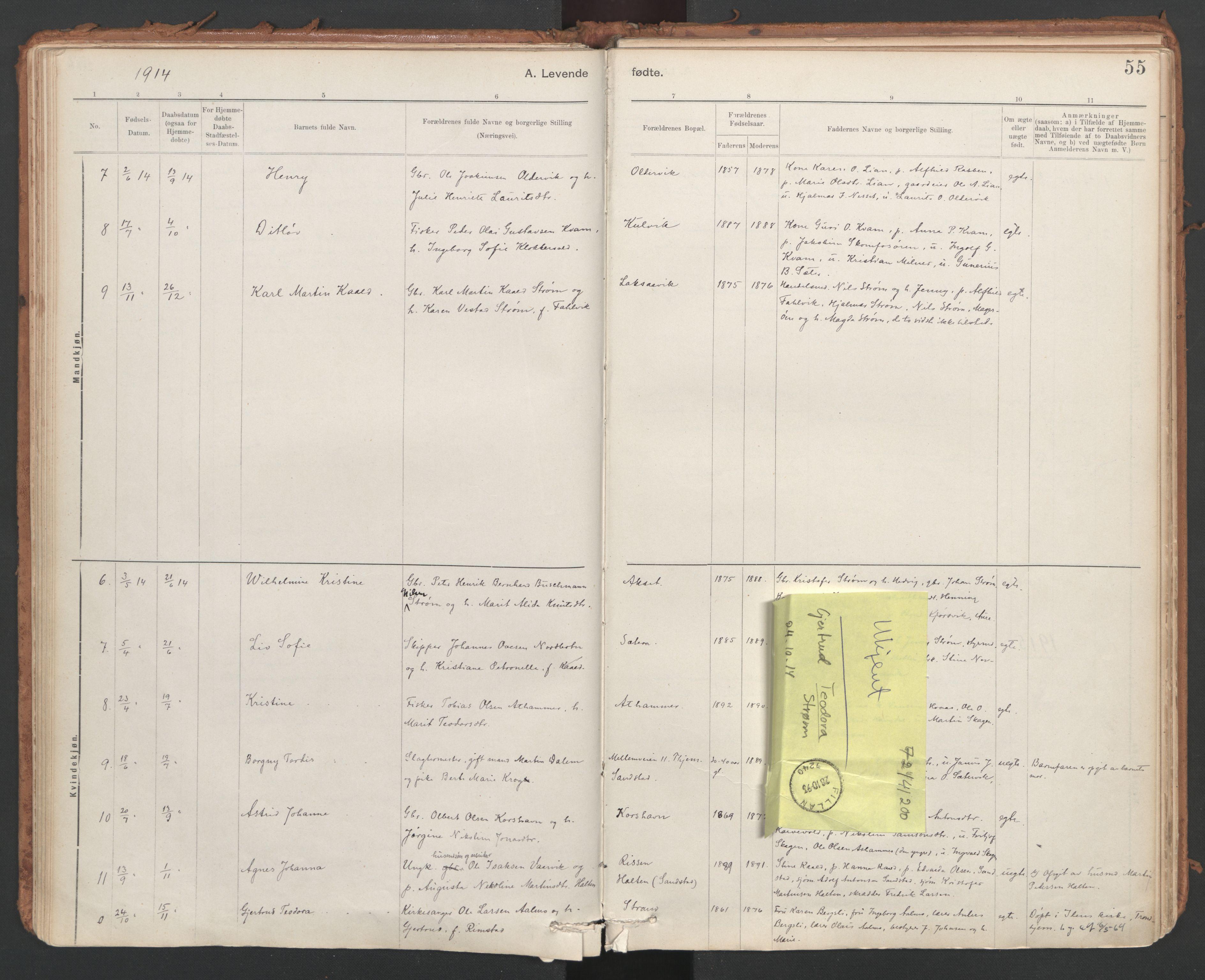 SAT, Ministerialprotokoller, klokkerbøker og fødselsregistre - Sør-Trøndelag, 639/L0572: Ministerialbok nr. 639A01, 1890-1920, s. 55