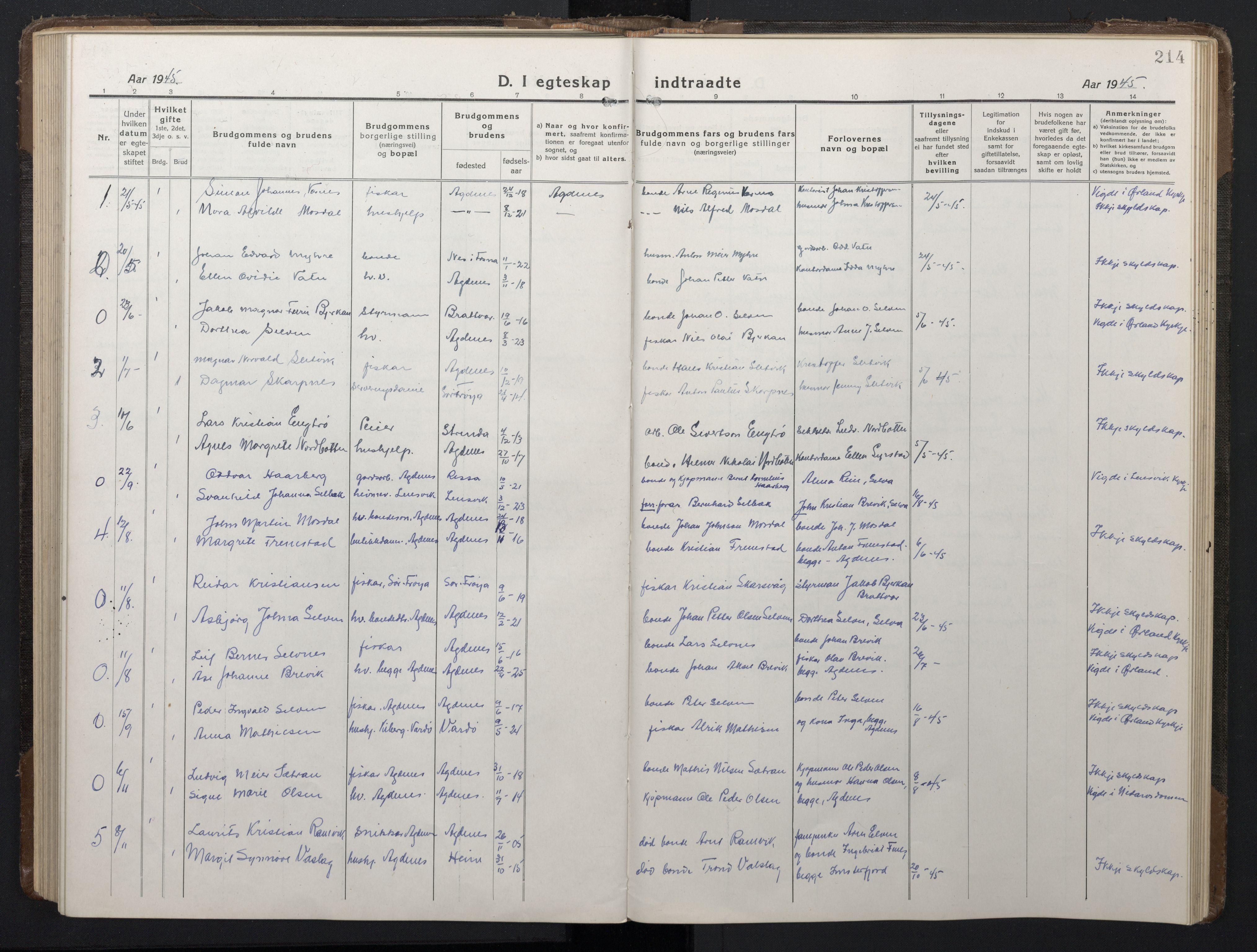 SAT, Ministerialprotokoller, klokkerbøker og fødselsregistre - Sør-Trøndelag, 662/L0758: Klokkerbok nr. 662C03, 1918-1948, s. 214