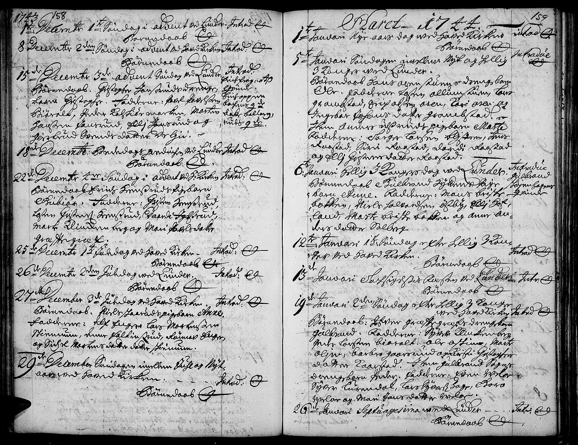 SAH, Jevnaker prestekontor, Ministerialbok nr. 2, 1725-1751, s. 158-159