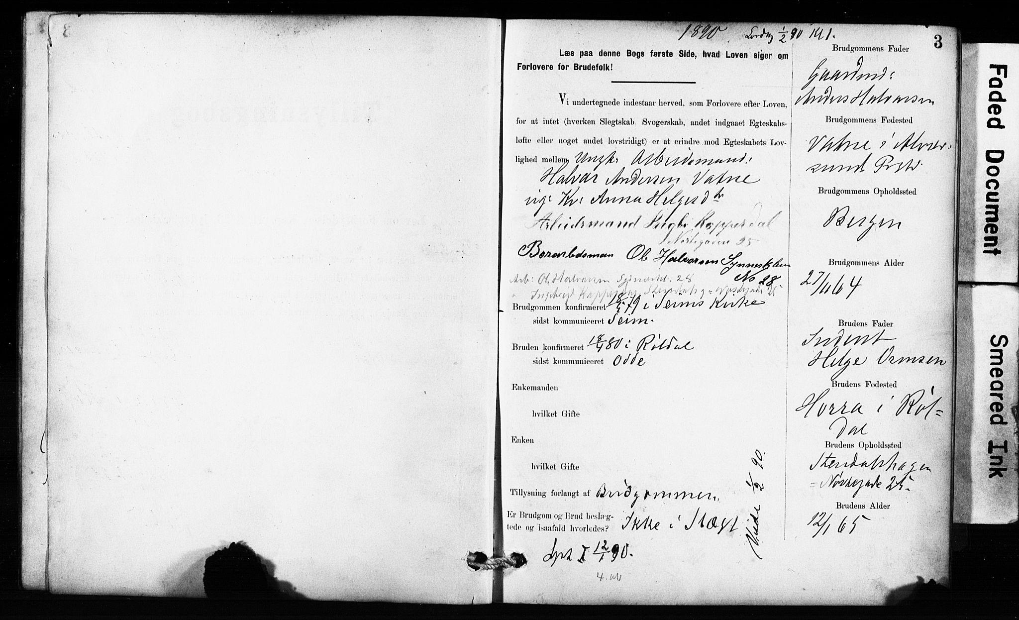 SAB, Domkirken Sokneprestembete, Forlovererklæringer nr. II.5.10, 1890-1899, s. 3