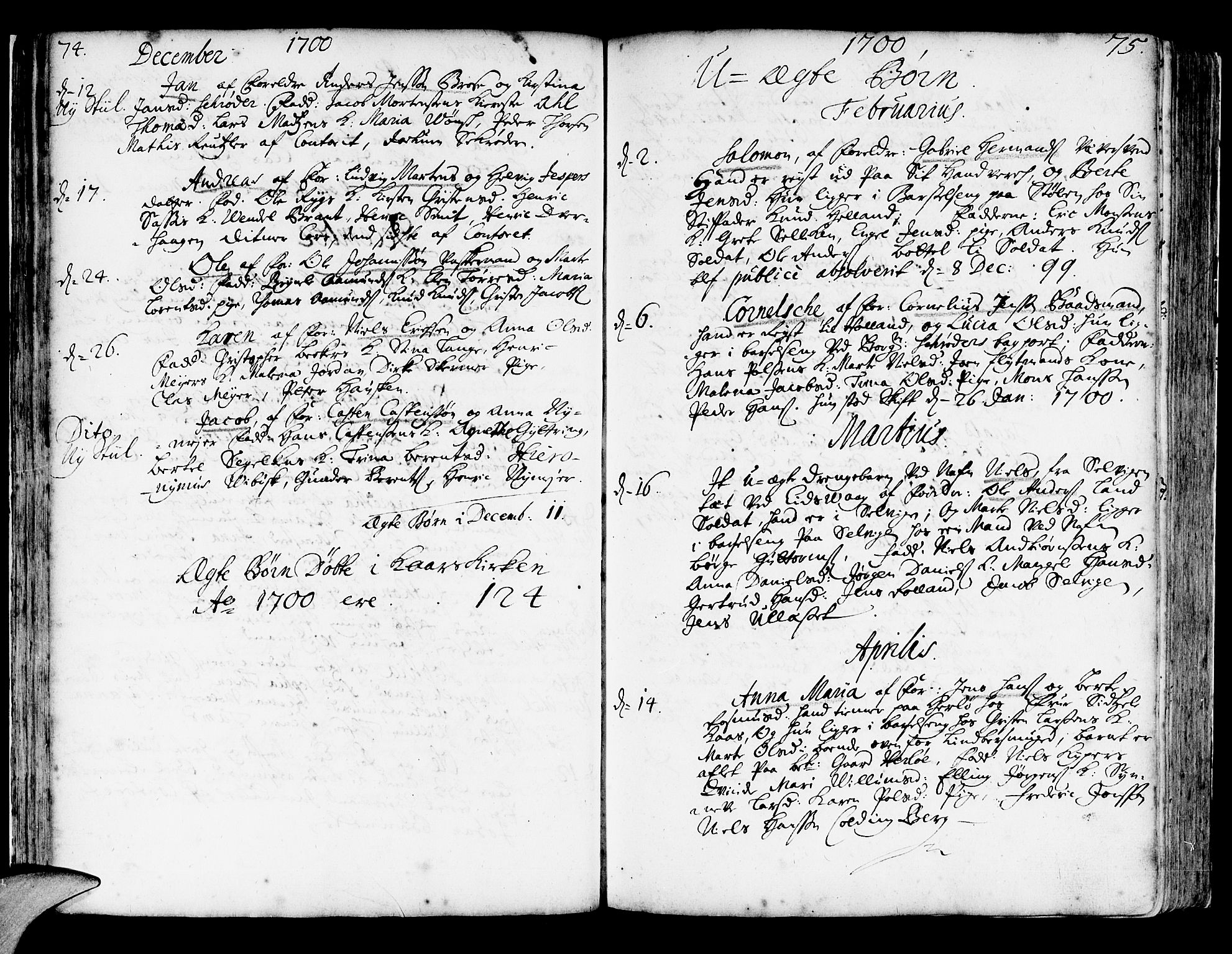 SAB, Korskirken Sokneprestembete, H/Haa/L0003: Ministerialbok nr. A 3, 1698-1719, s. 74-75