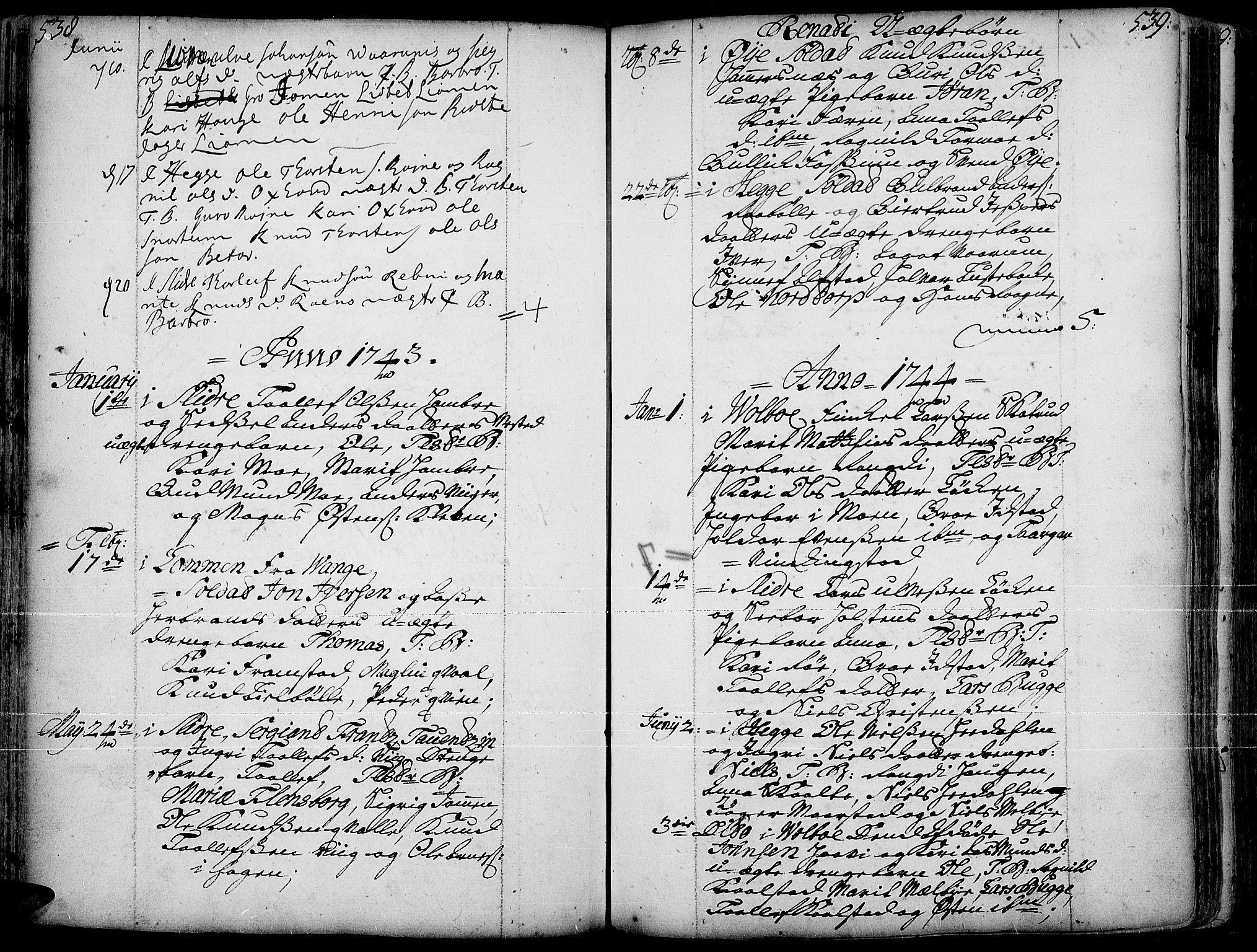 SAH, Slidre prestekontor, Ministerialbok nr. 1, 1724-1814, s. 538-539