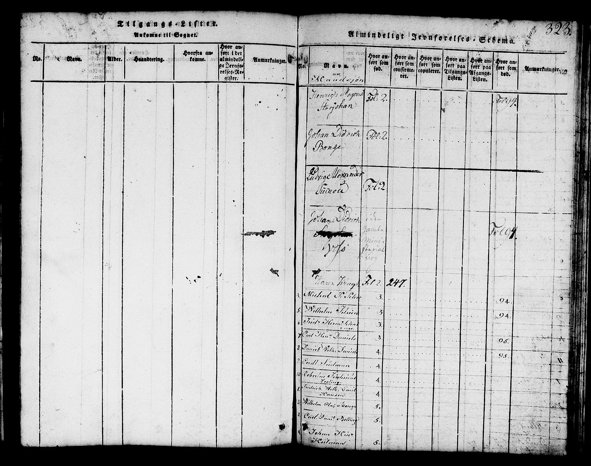 SAB, Mariakirken Sokneprestembete, H/Hab/L0001: Klokkerbok nr. A 1, 1815-1846, s. 323