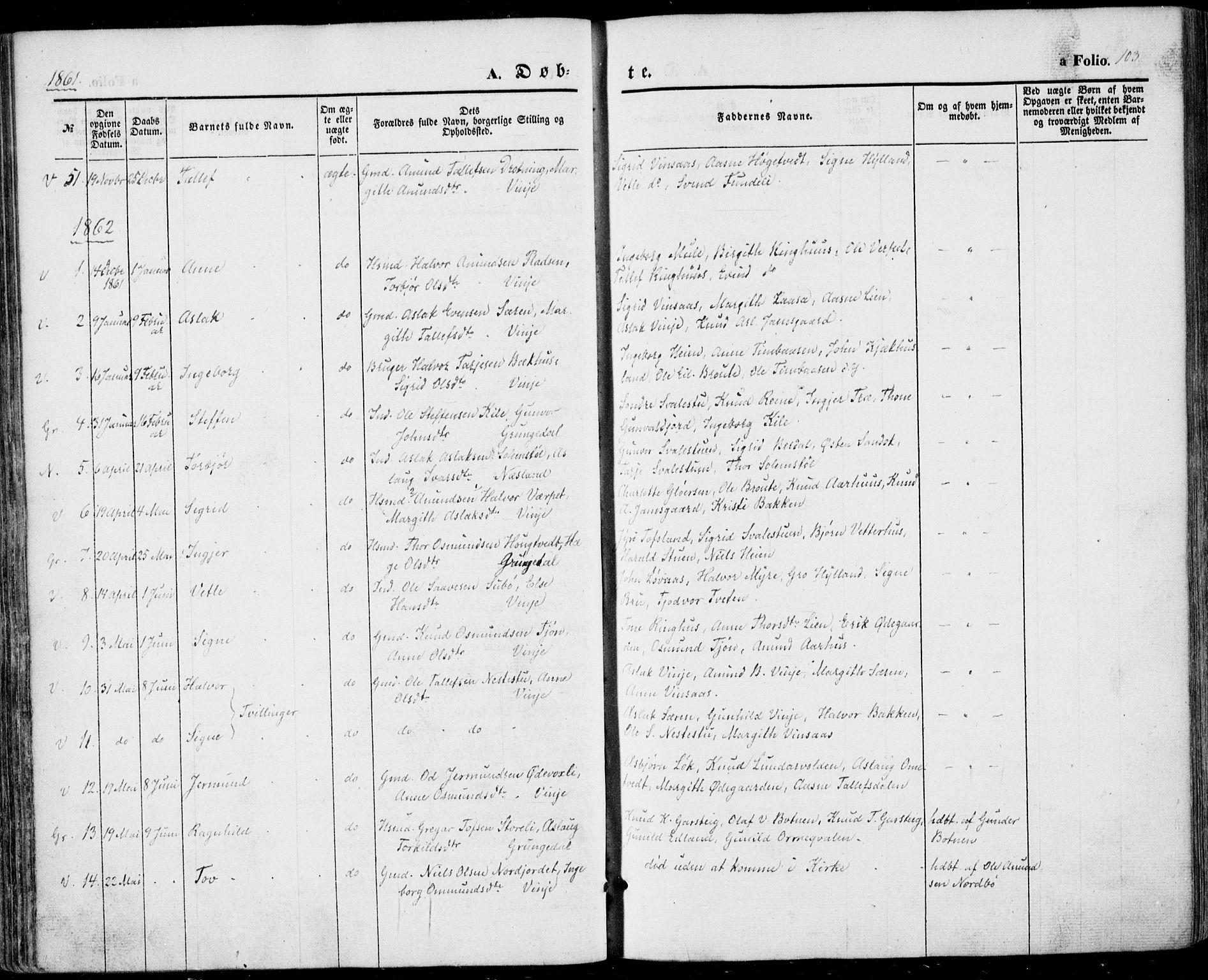 SAKO, Vinje kirkebøker, F/Fa/L0004: Ministerialbok nr. I 4, 1843-1869, s. 103