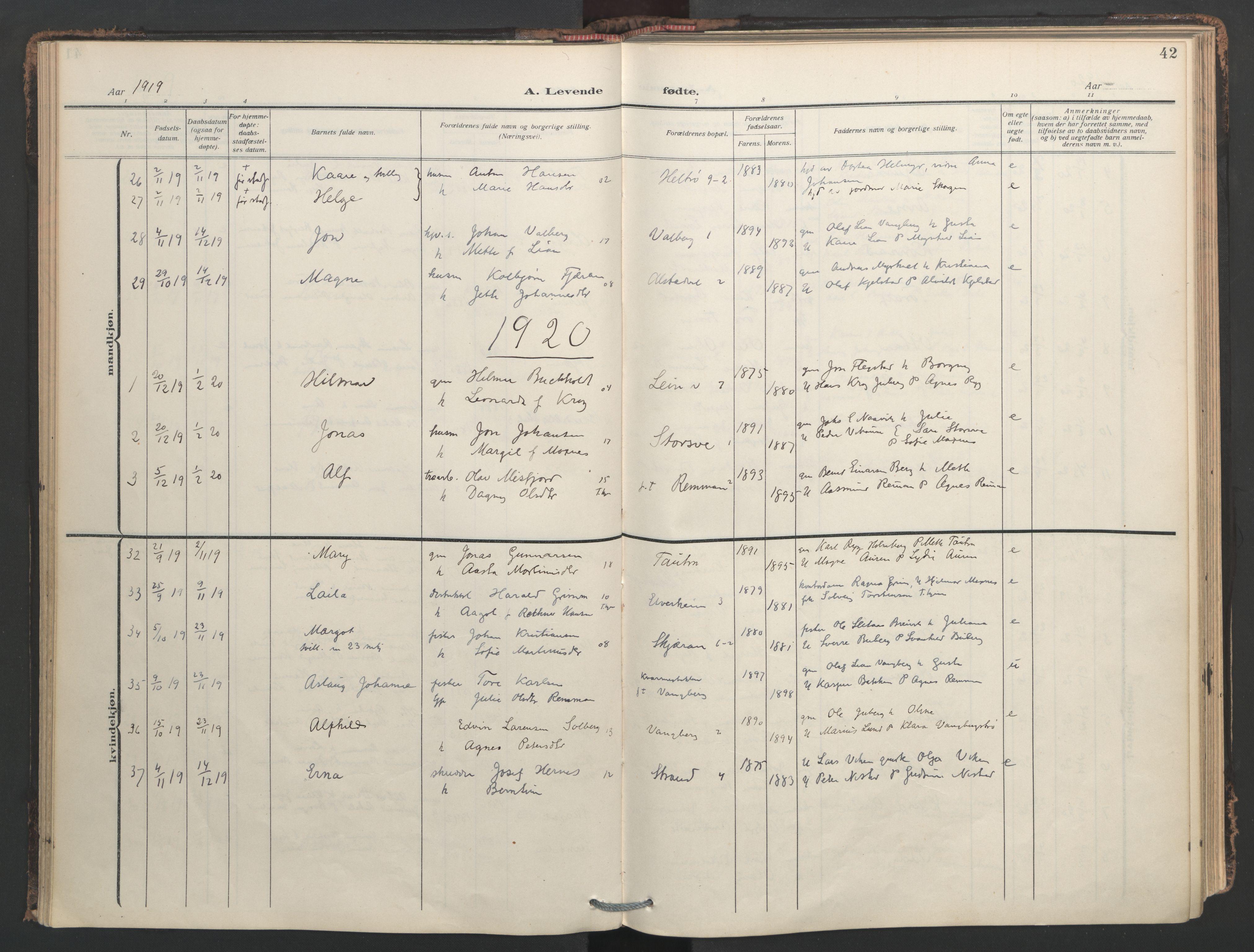 SAT, Ministerialprotokoller, klokkerbøker og fødselsregistre - Nord-Trøndelag, 713/L0123: Ministerialbok nr. 713A12, 1911-1925, s. 42