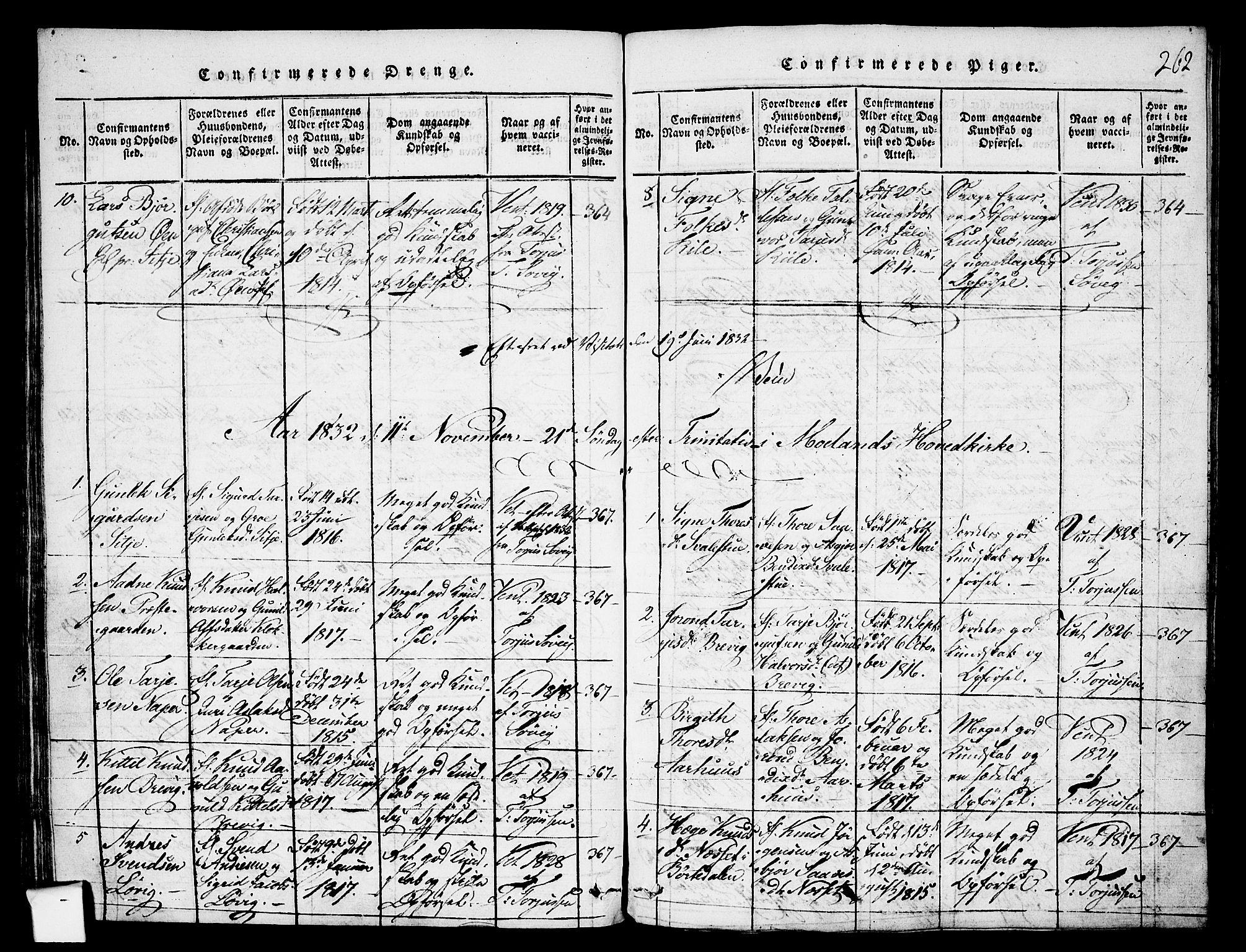 SAKO, Fyresdal kirkebøker, F/Fa/L0003: Ministerialbok nr. I 3, 1815-1840, s. 262